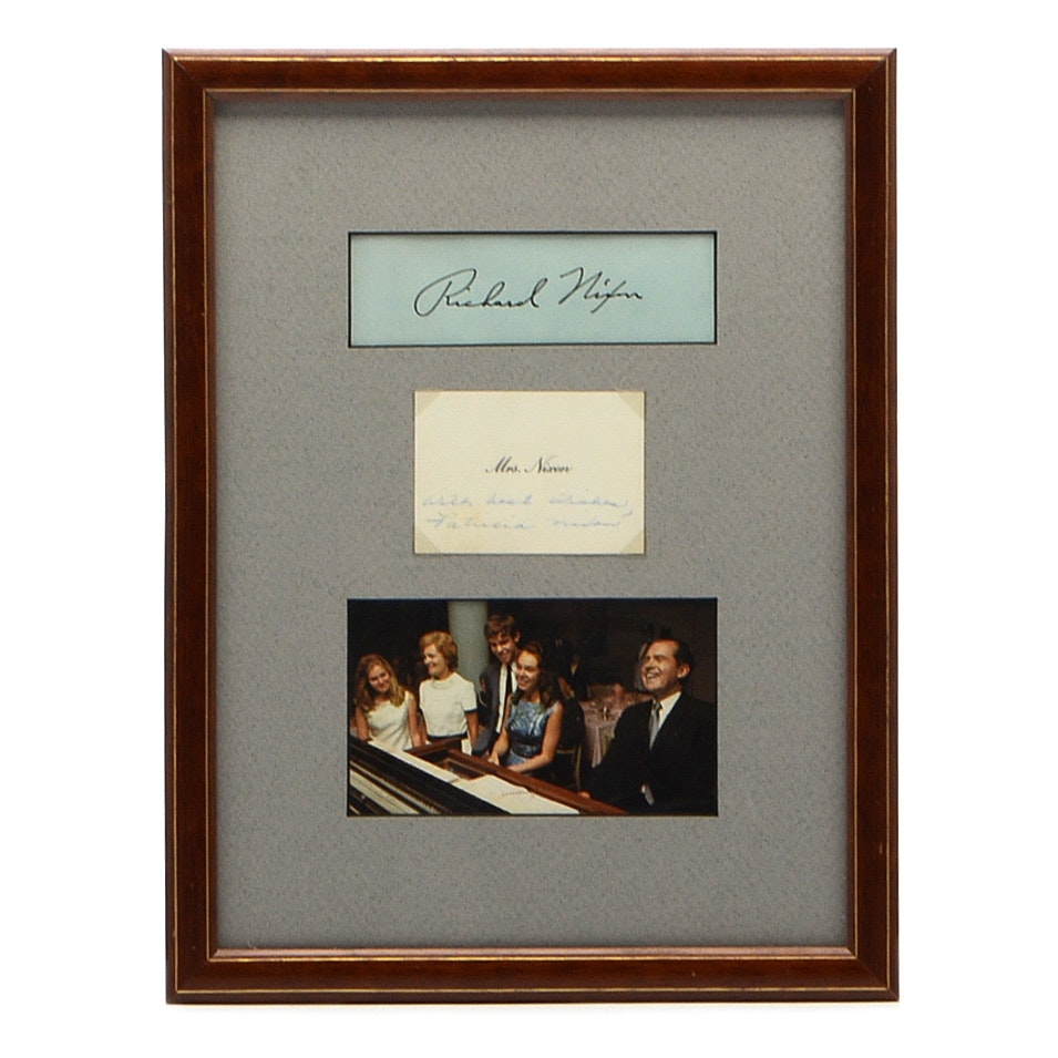 First Lady Patricia Nixon Autographed Framed Presidential Display