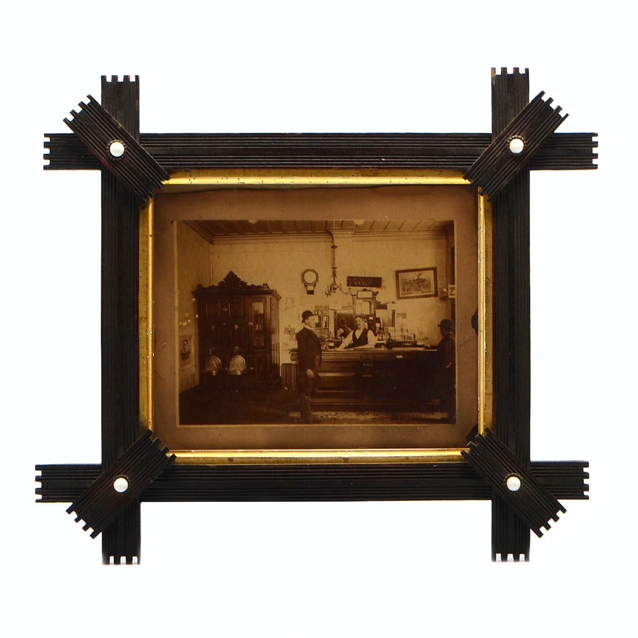 Antique Bar Scene Framed Photograph