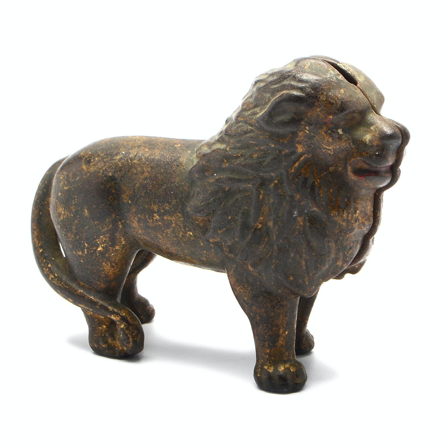 Antique Cast Iron Lion Still Bank