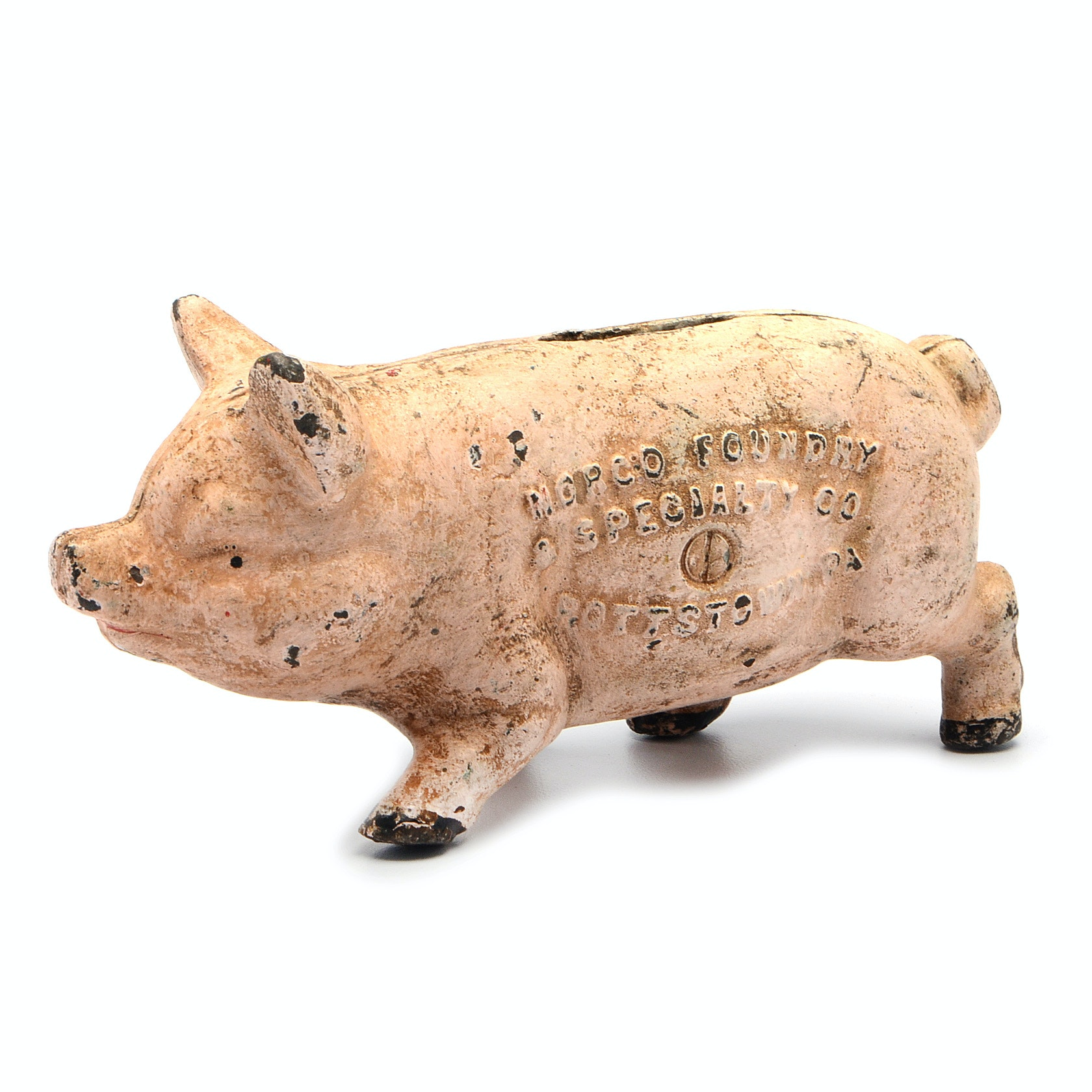 Vintage Advertising Cast Iron Pig Bank