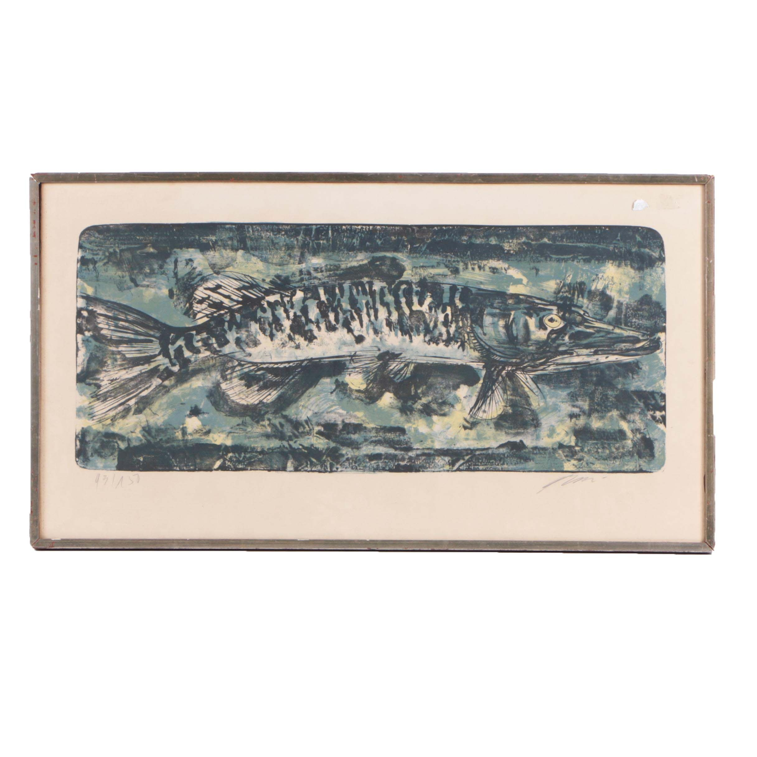 Vintage Limited Edition Lithograph Print of a Fish