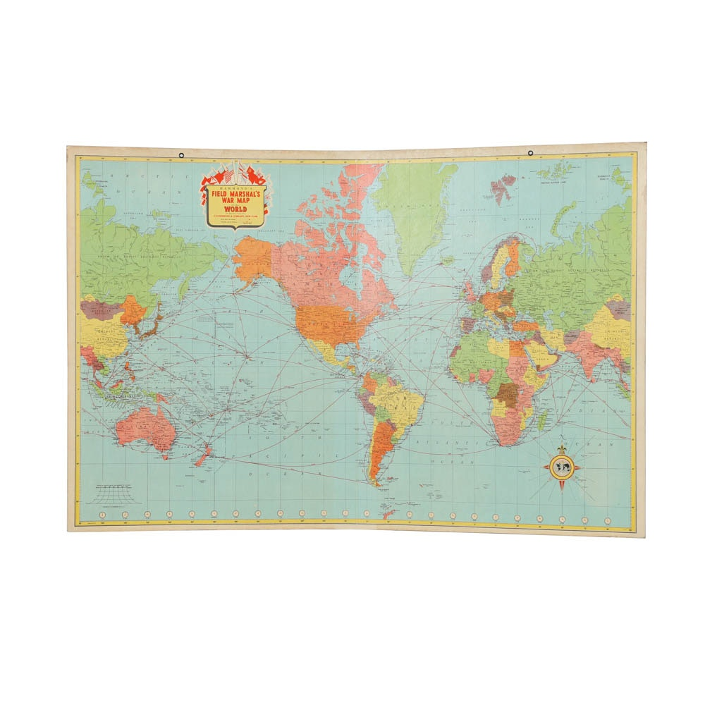 """Lithograph on Board """"Hammond's Field Marshal's War Map of the World"""""""