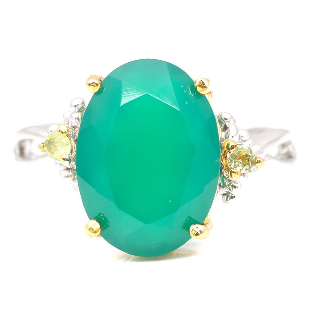 Sterling Silver Green Chalcedony and Lemon Quartz Ring