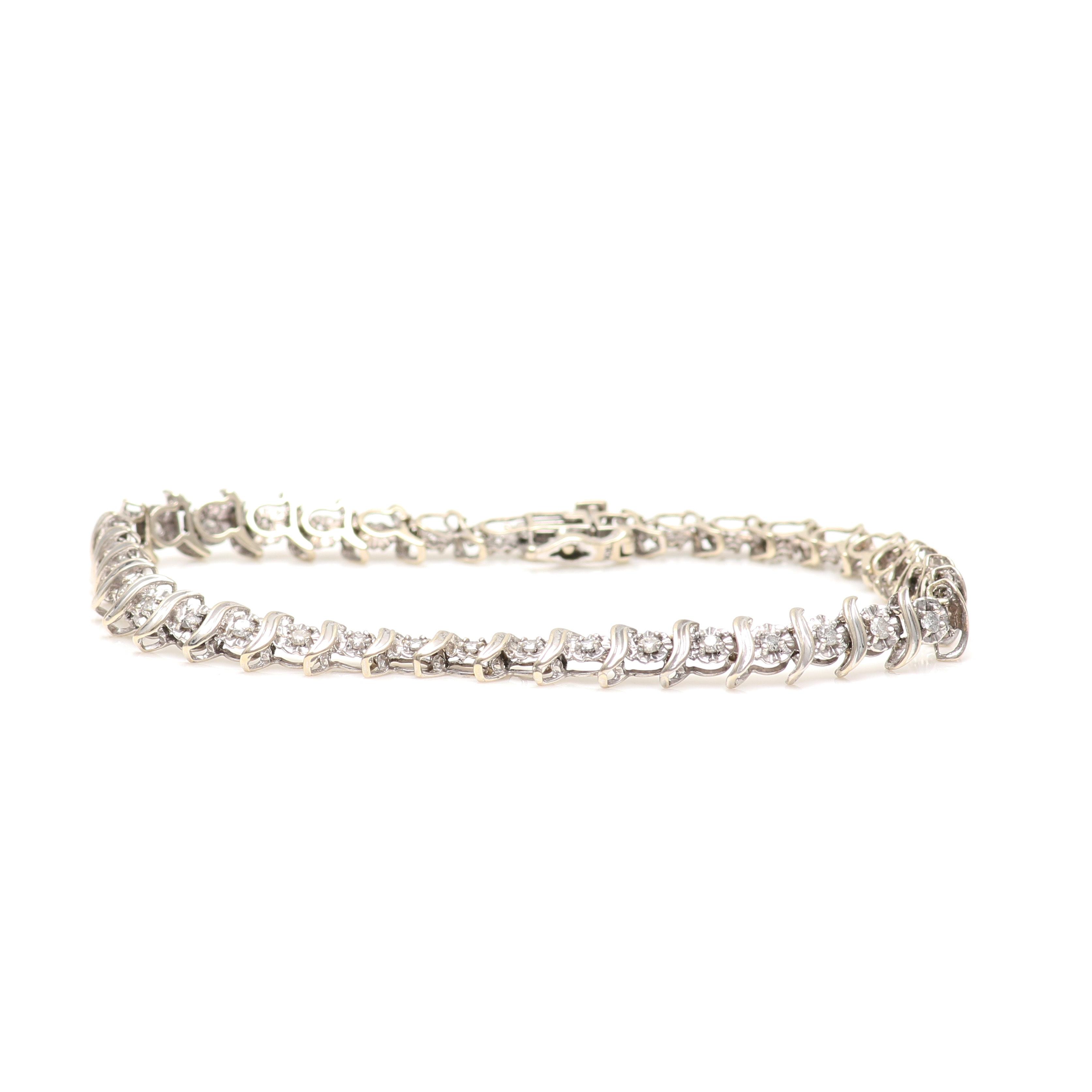 10K White Gold 1.00 CTW Diamond Bracelet