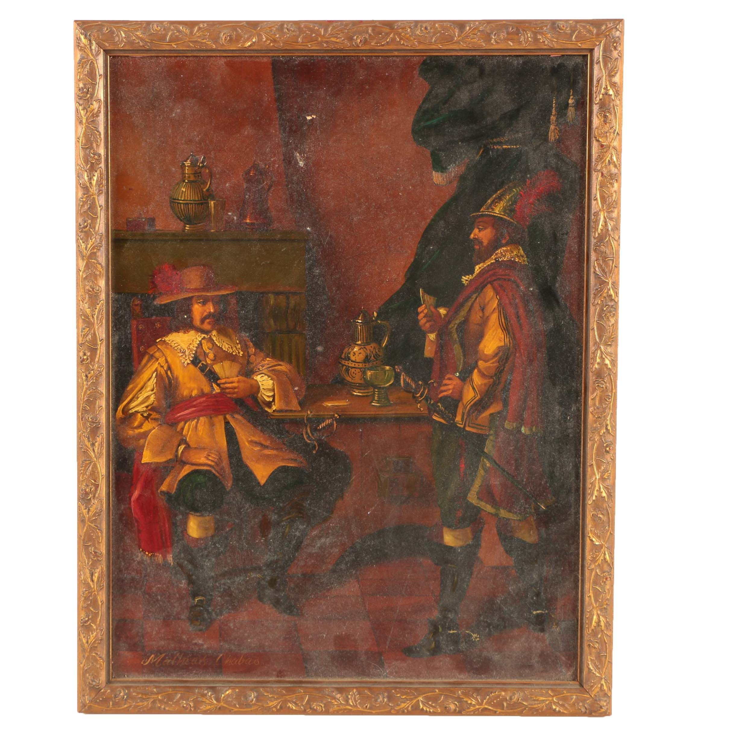 Mathias Chabas Oil Painting on Panel of a Card Game