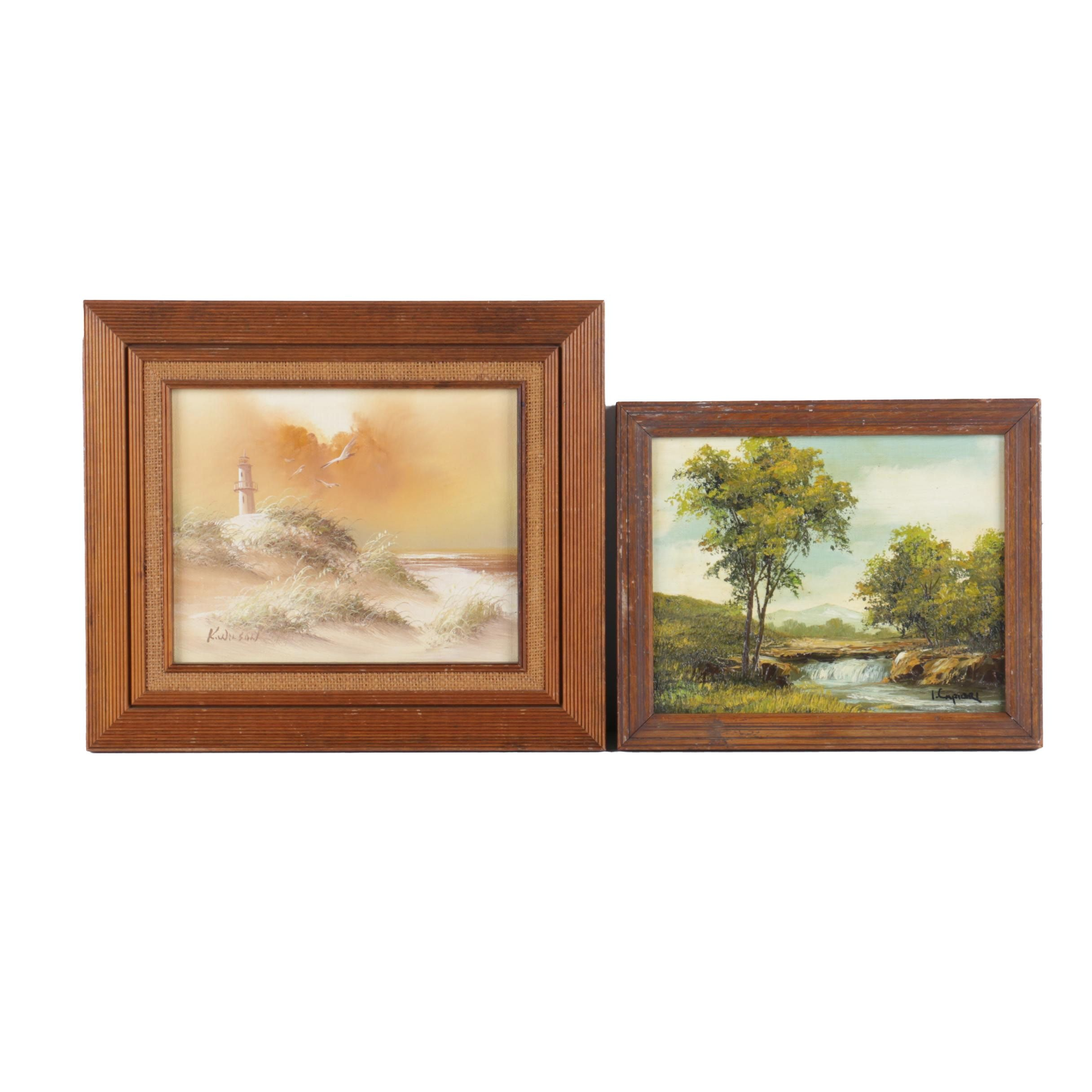 K. Wilson and I. Capiori Oil Paintings of Landscapes