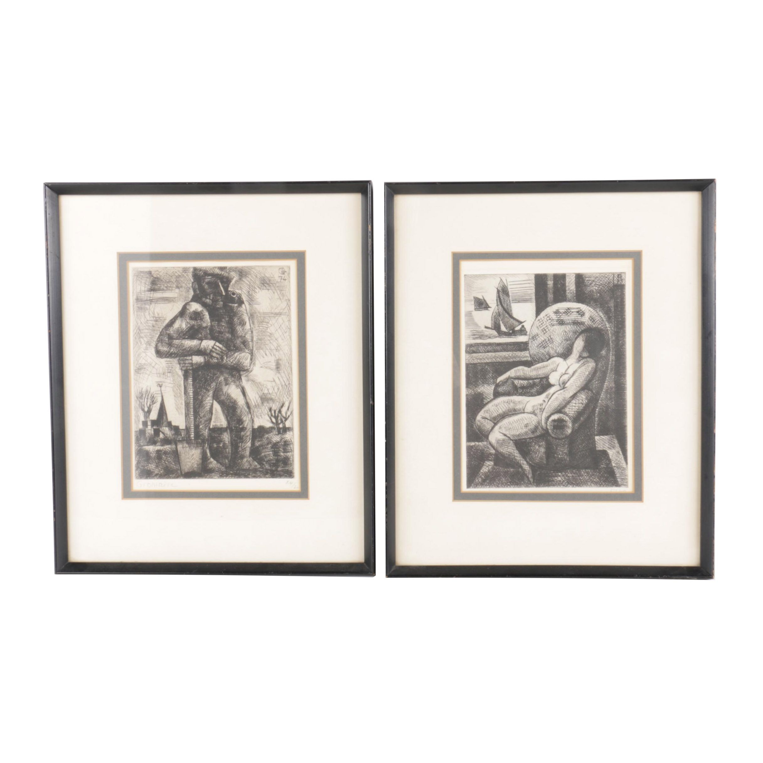 "Marcel Gromaire 1920s Limited Edition Etchings Including ""Nude in Armchair"""