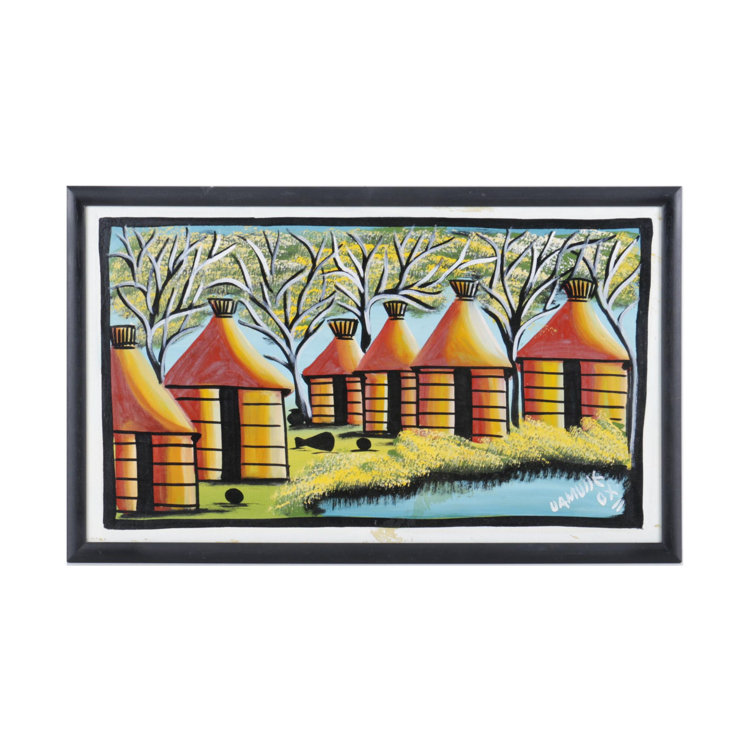 Acrylic Painting on Wood of a Native Village