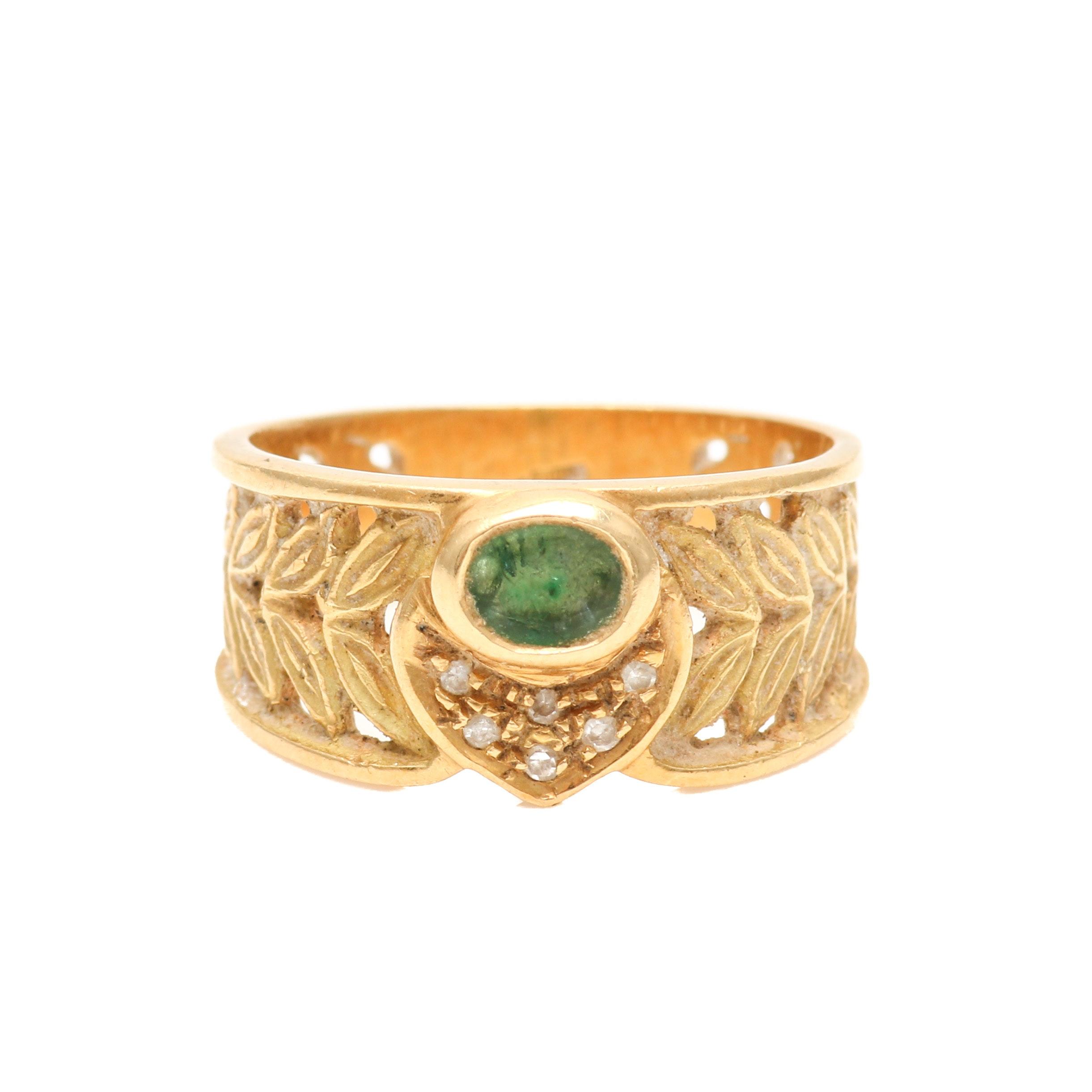 18K Yellow Gold Emerald and Diamond Foliage Motif Ring