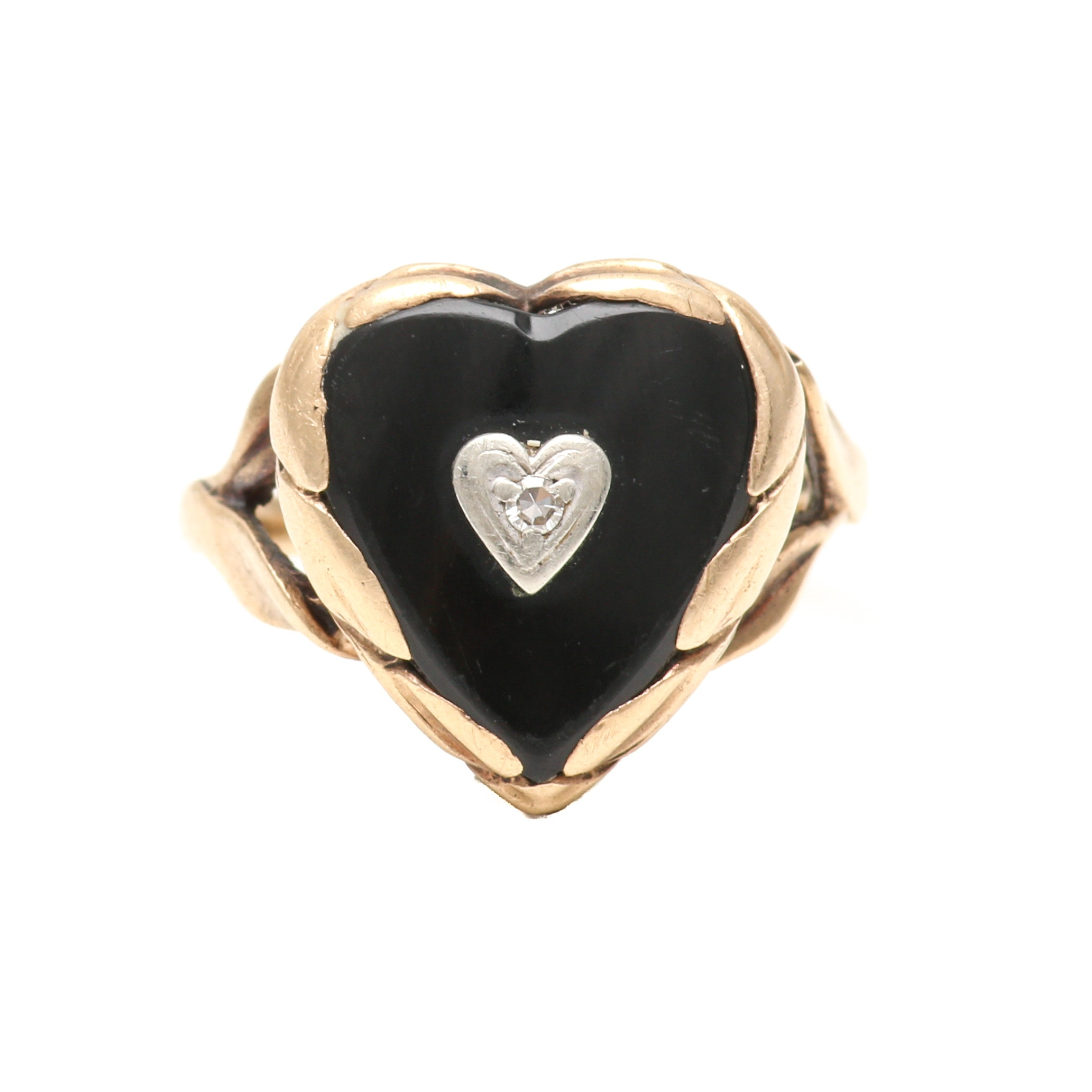 10K Yellow Gold Onyx and Diamond Heart Ring with White Gold Accents