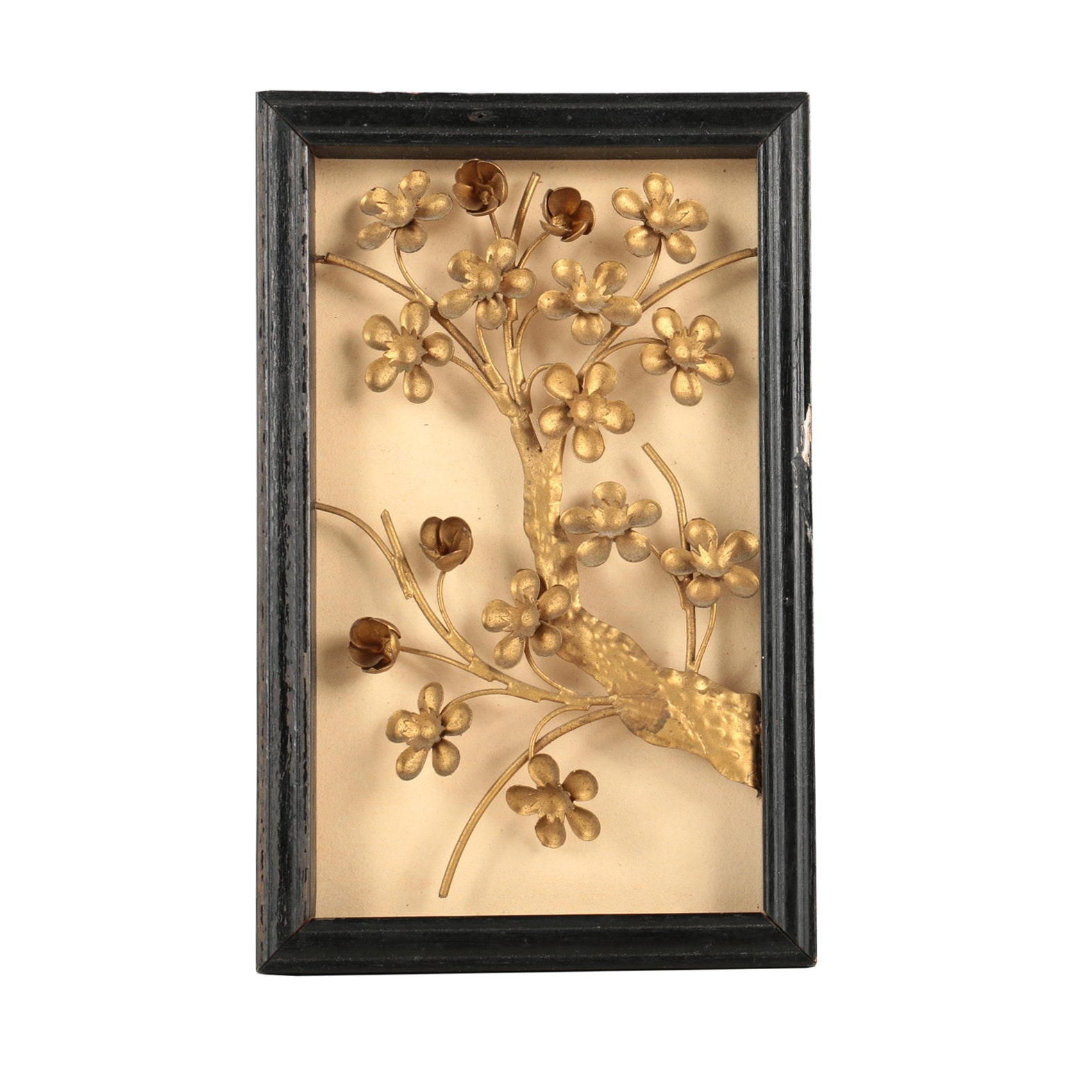 Gold Tone Metal Tree Sculpture in Shadowbox Frame