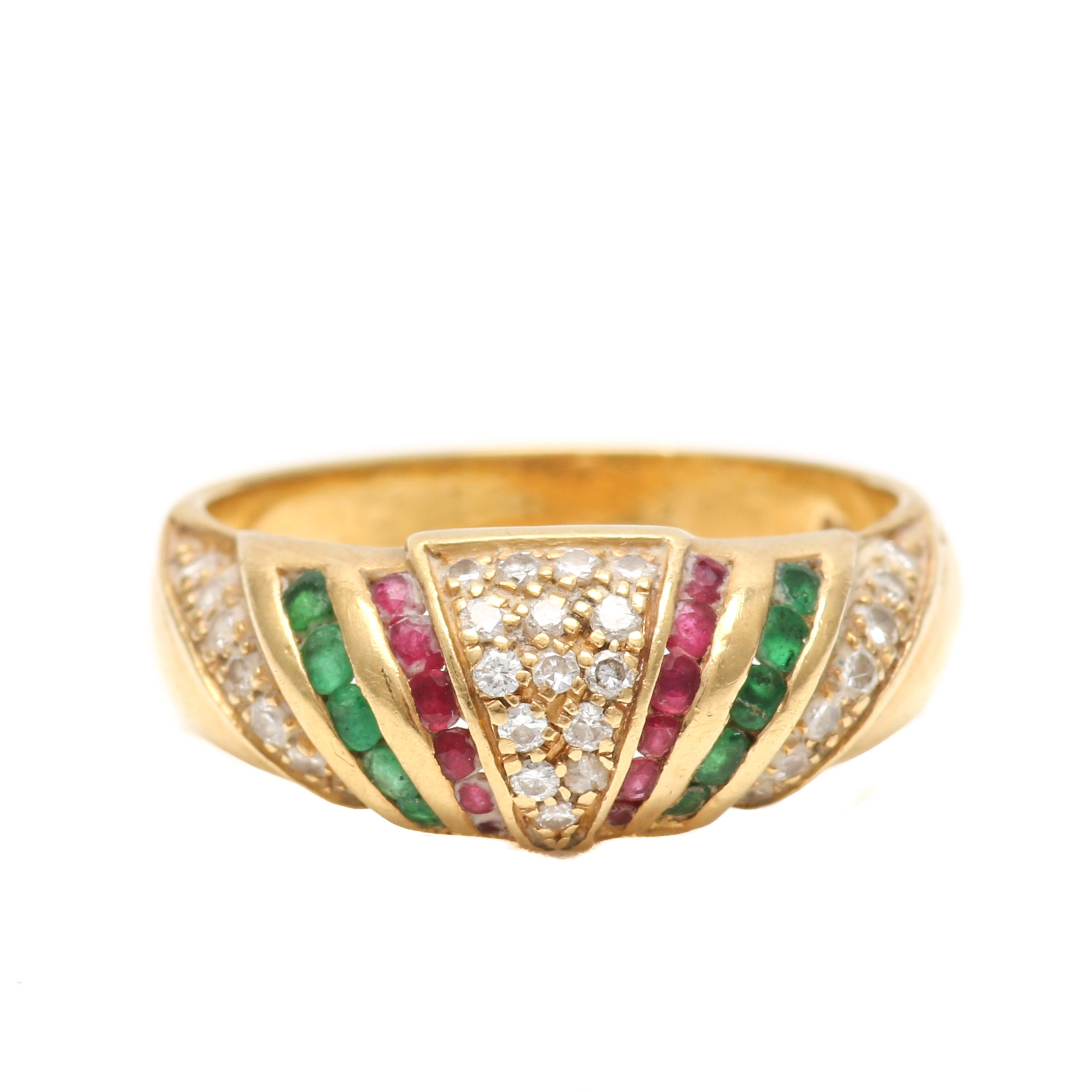 18K Yellow Gold Diamond, Ruby and Emerald Dome Ring