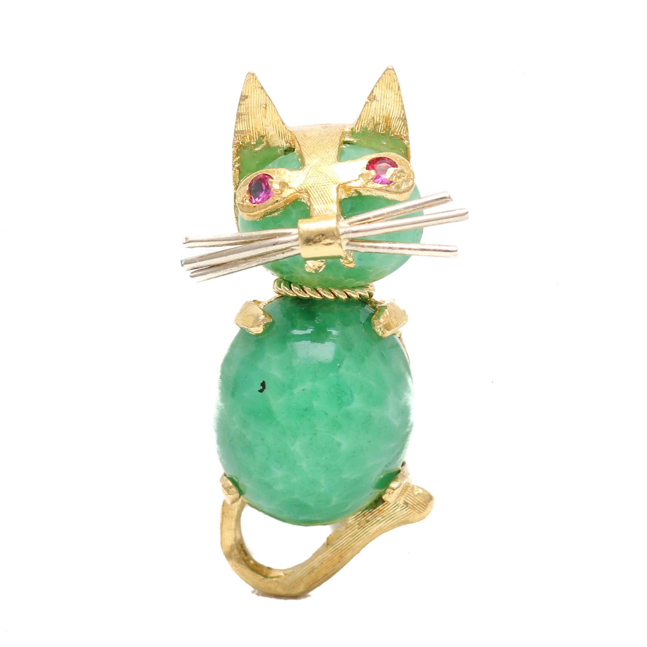 18K Yellow and White Gold Green Glass and Pink Spinel Cat Brooch