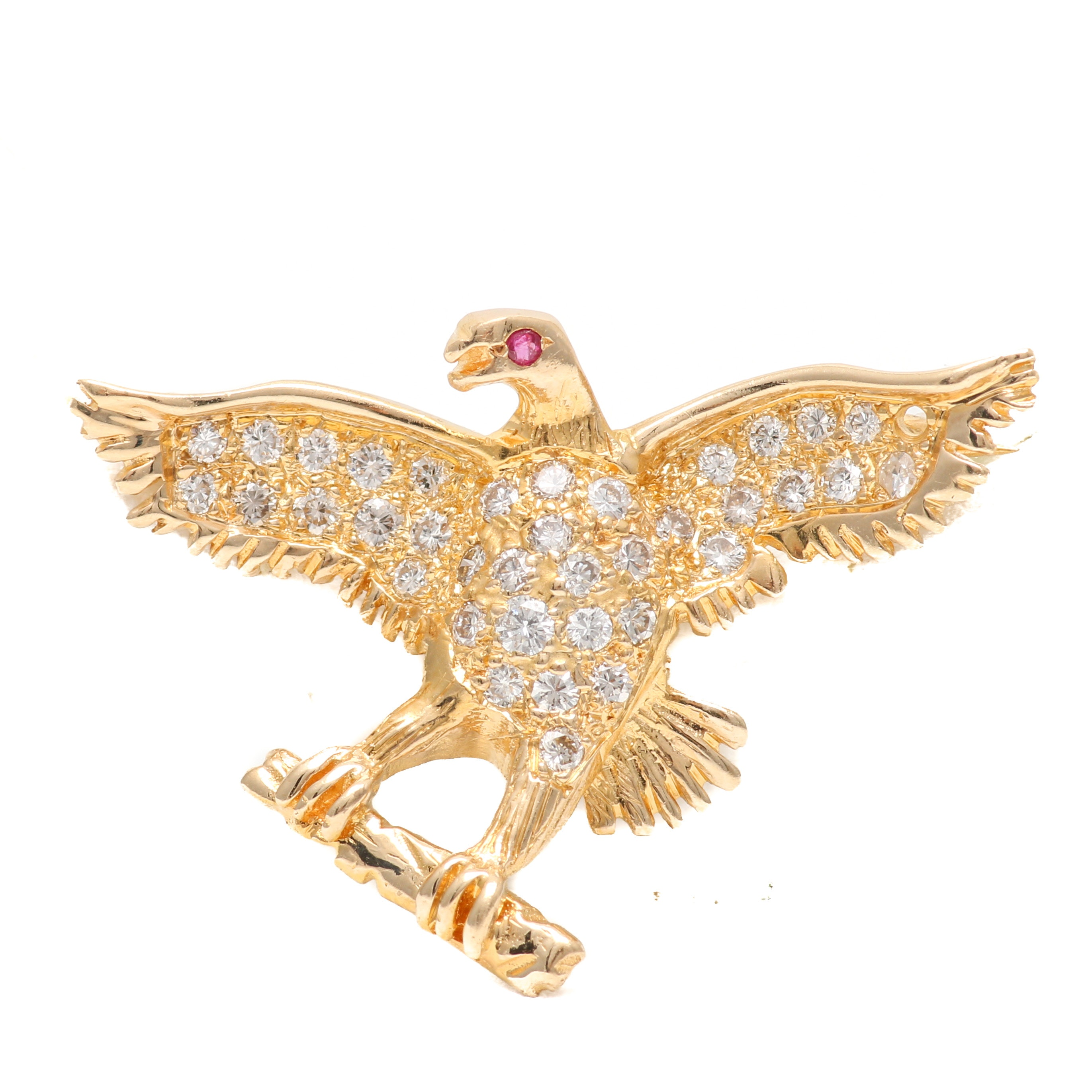14K Yellow Gold Diamond and Ruby Eagle Brooch