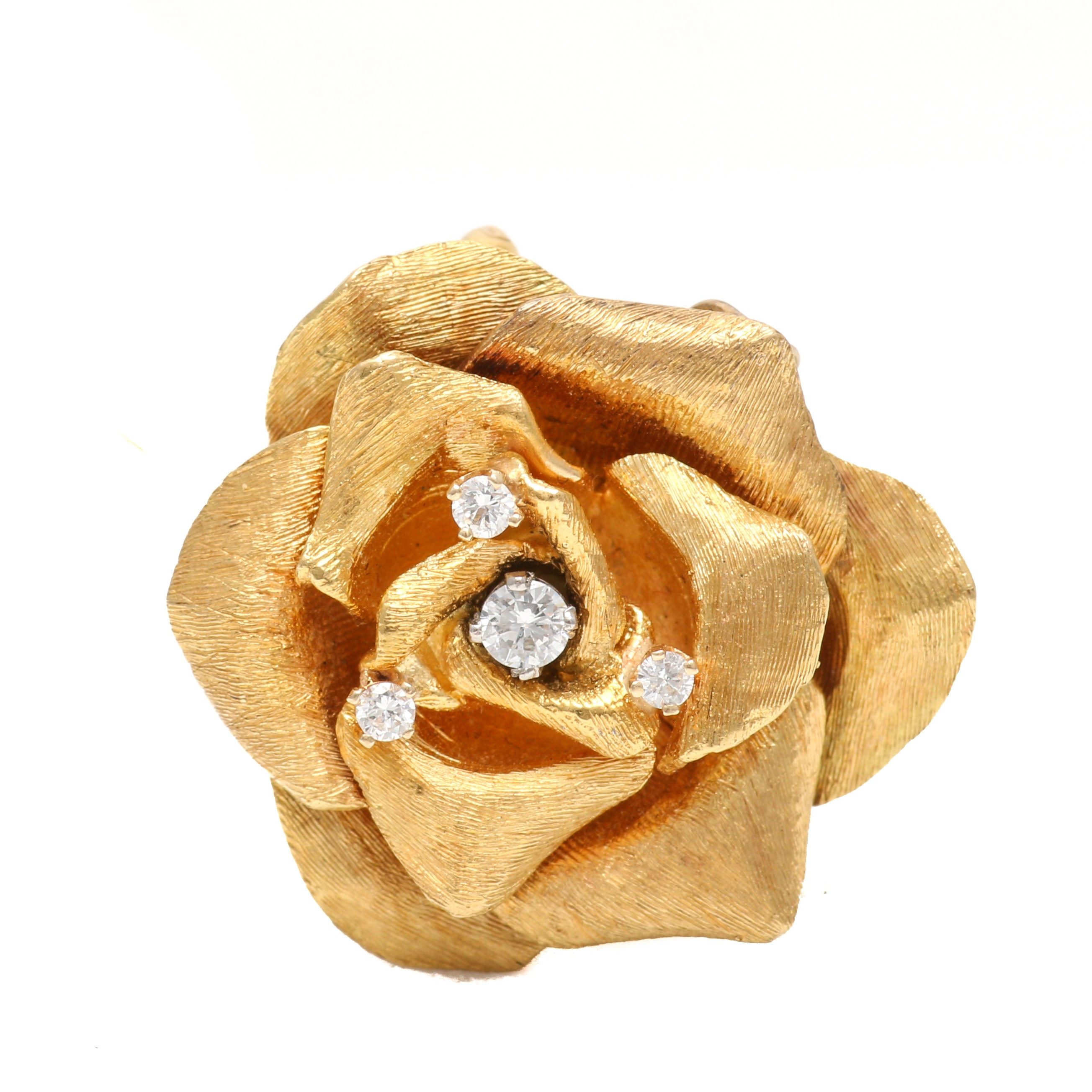18K Yellow Gold Rose Converter Brooch With Diamond Accents
