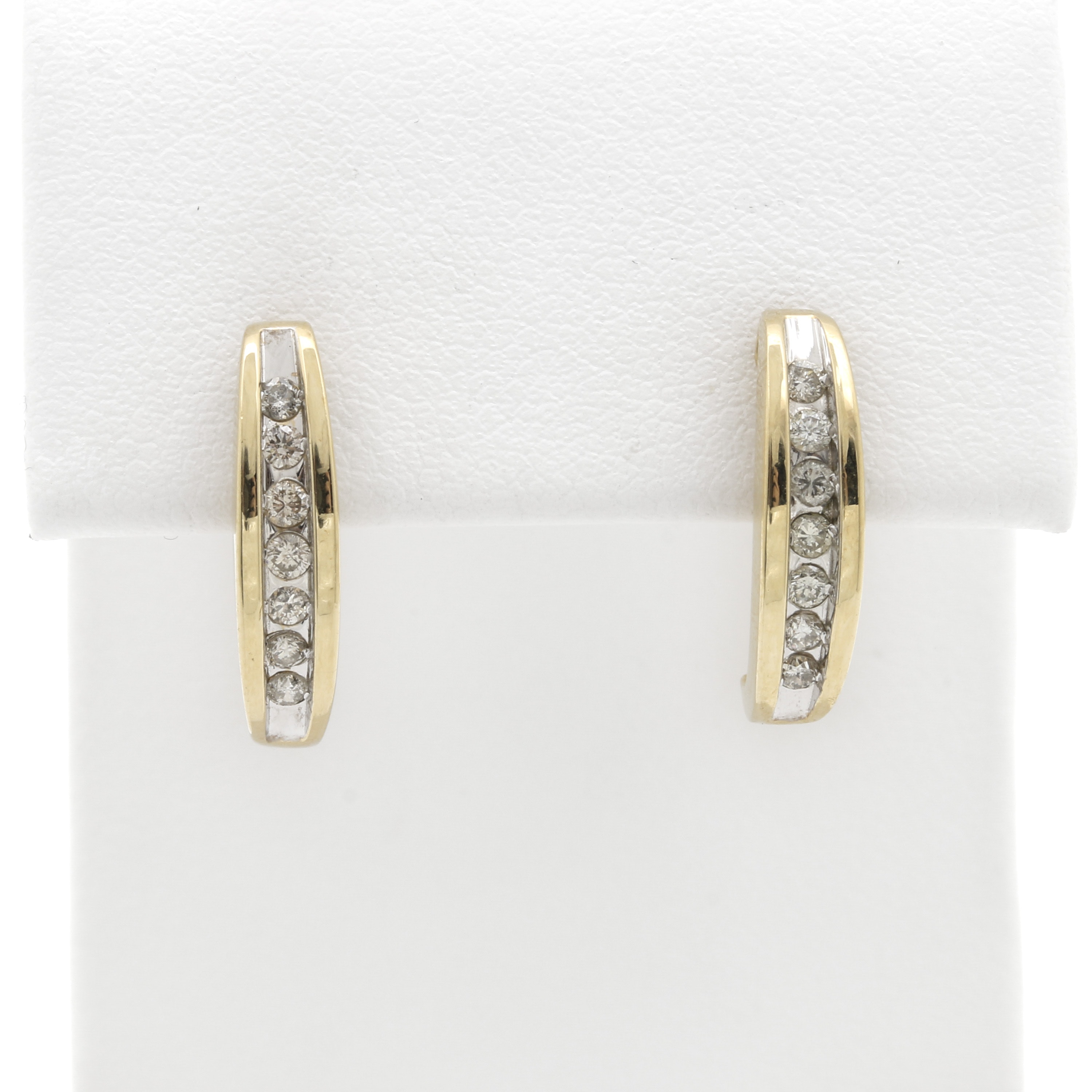 14K Yellow Gold Diamond Half Hoop Earrings
