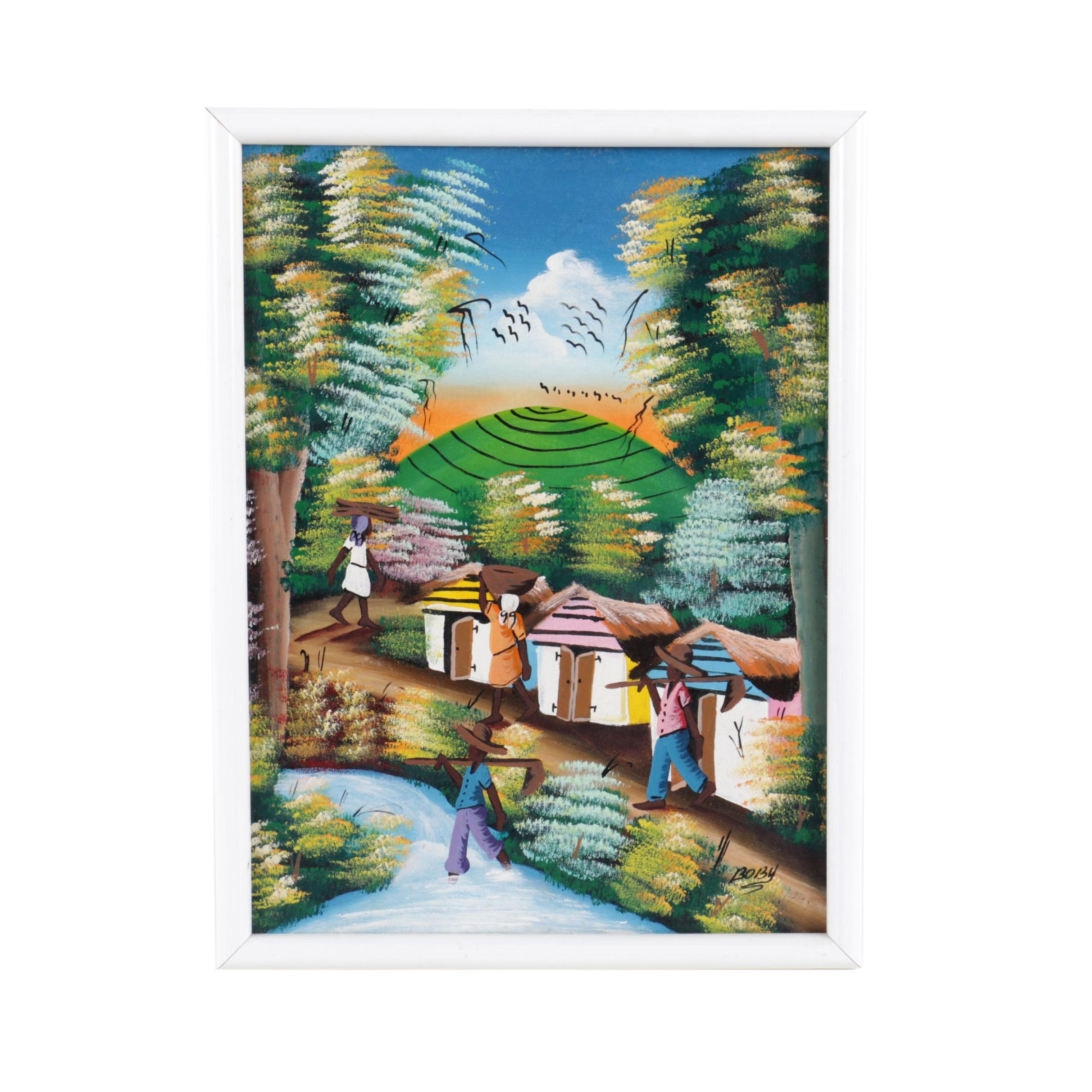 Boby Oil Painting on Canvas of a Village Scene