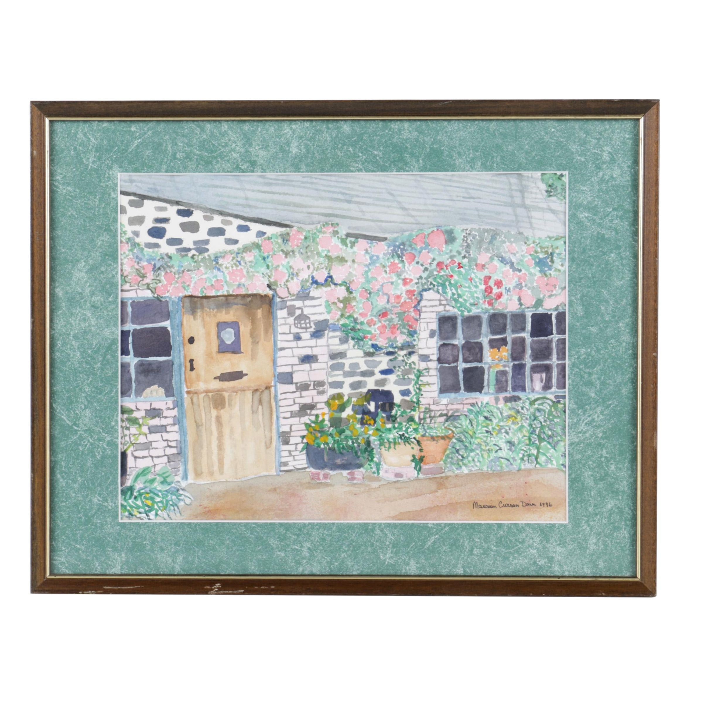 Maureen Curran Down Watercolor Painting of a Cottage