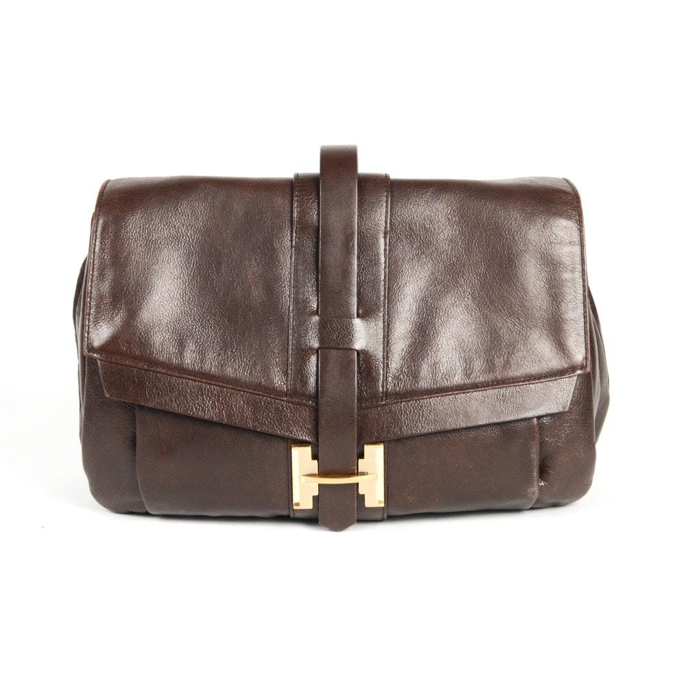 Halston Heritage Brown Leather Shoulder Bag