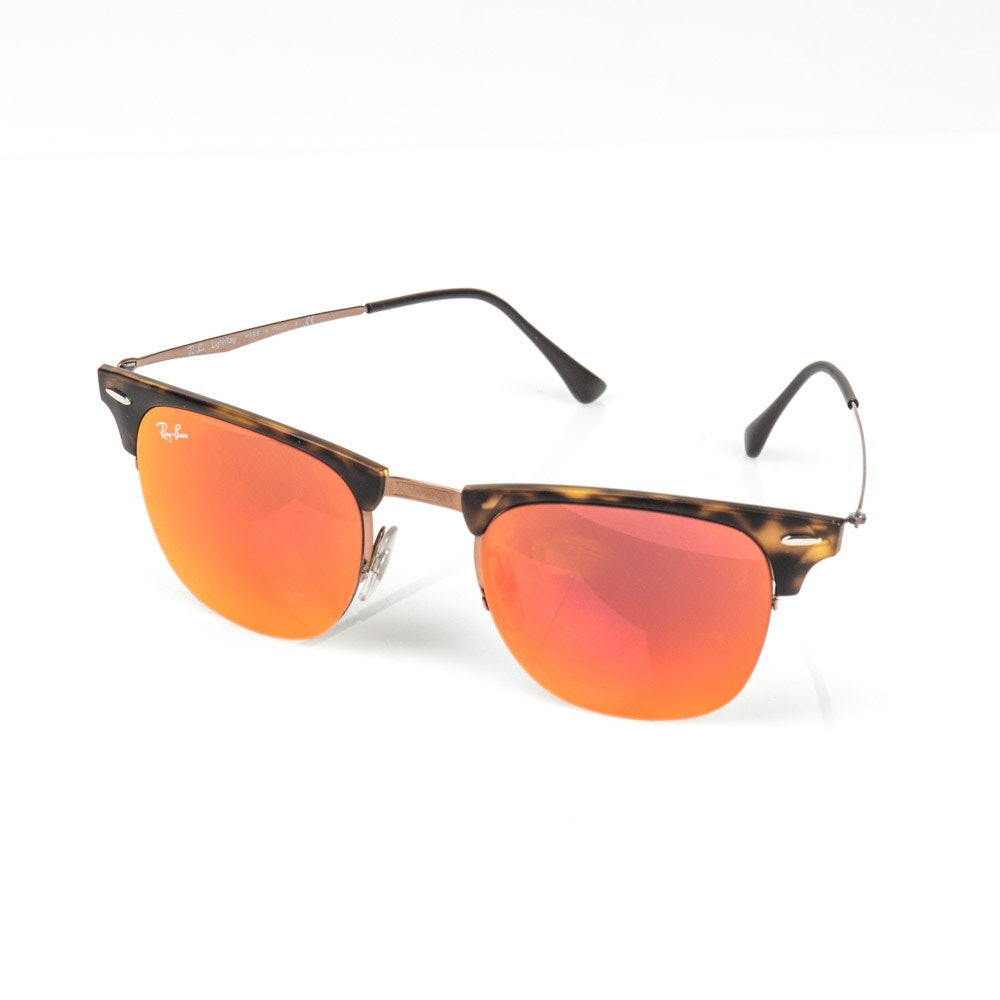 Ray-Ban Clubmaster Mirrored Lens Sunglasses