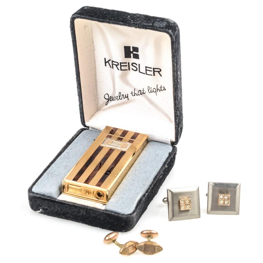 Kreisler Lighter and Vintage Cufflinks