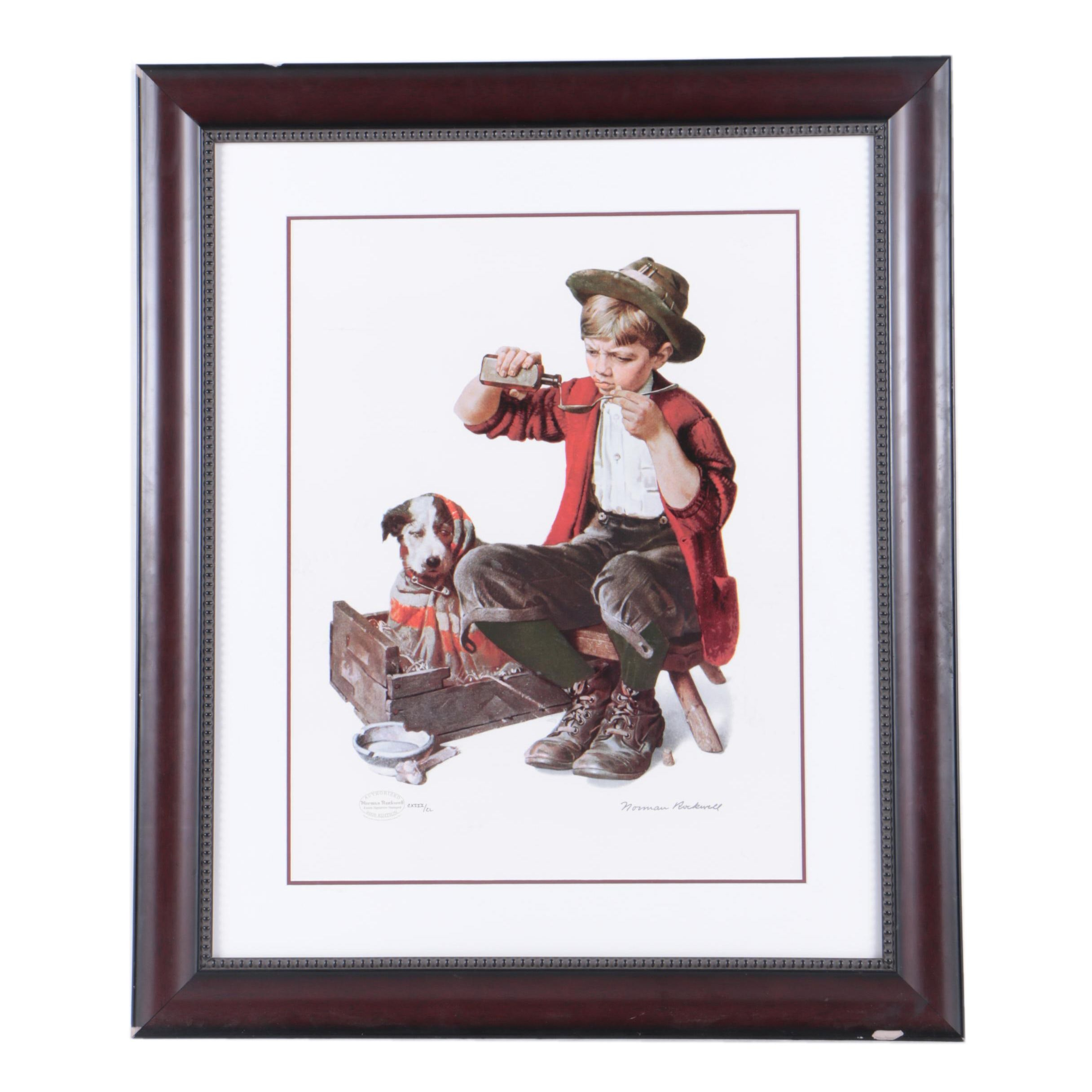 "Reproduction Print on Paper After Norman Rockwell ""Bedside Manner"""