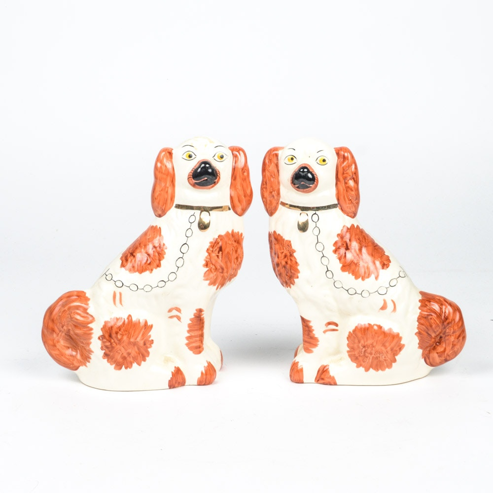 Staffordshire Inspired Ceramic Spaniel Dogs