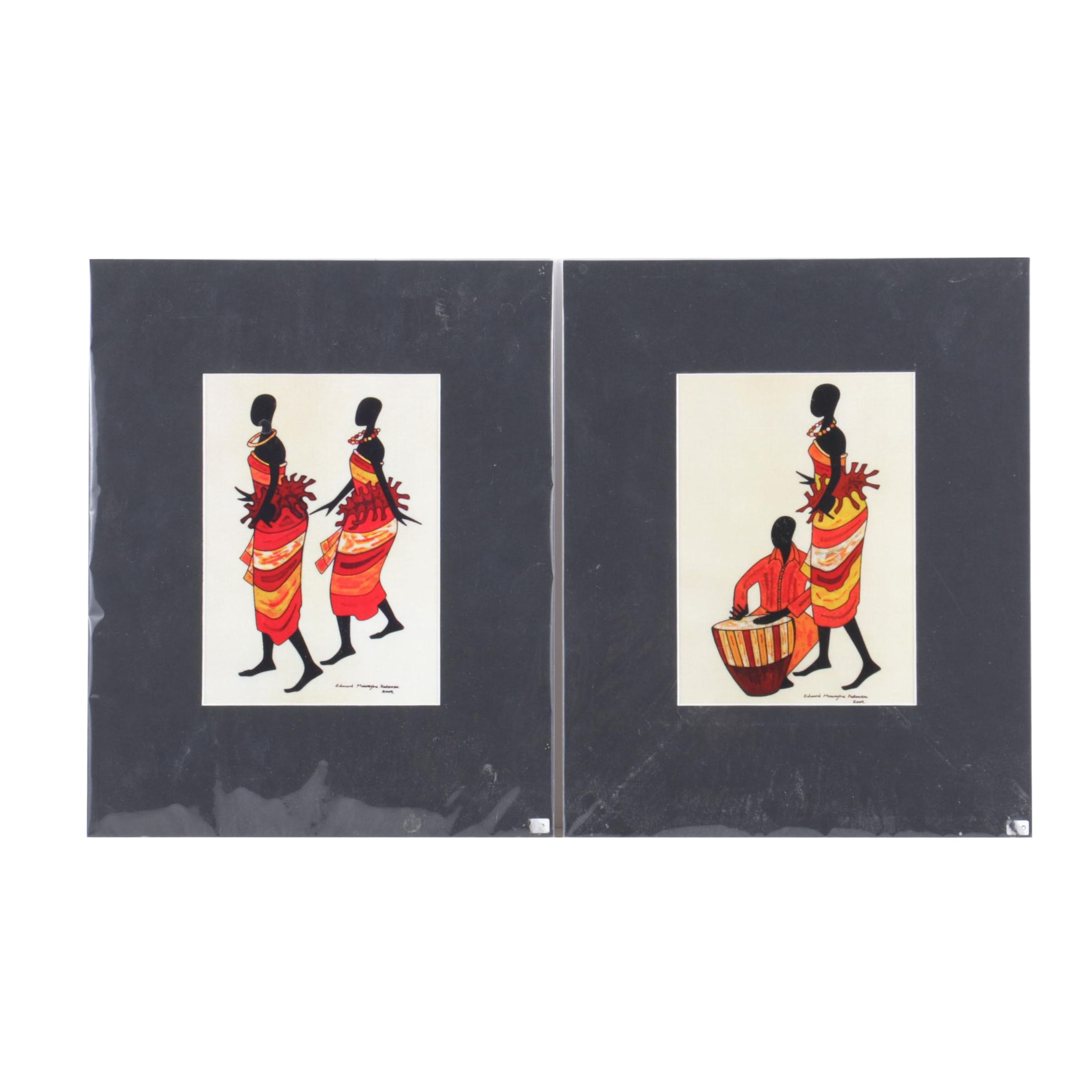 Pair of Reproduction Prints After Edward Kakooza