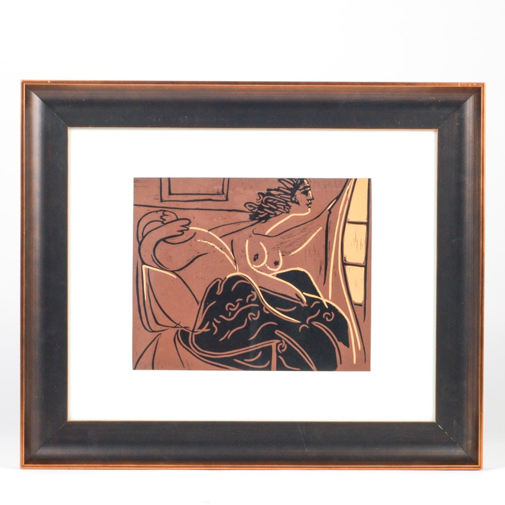 """Pablo Picasso 1962 Color Linocut """"Woman at the Window"""""""