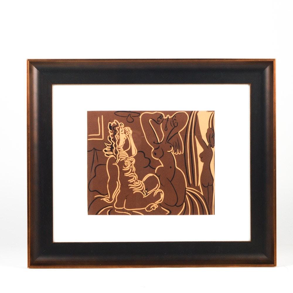 "Pablo Picasso 1962 Color Linocut ""Three Women"""