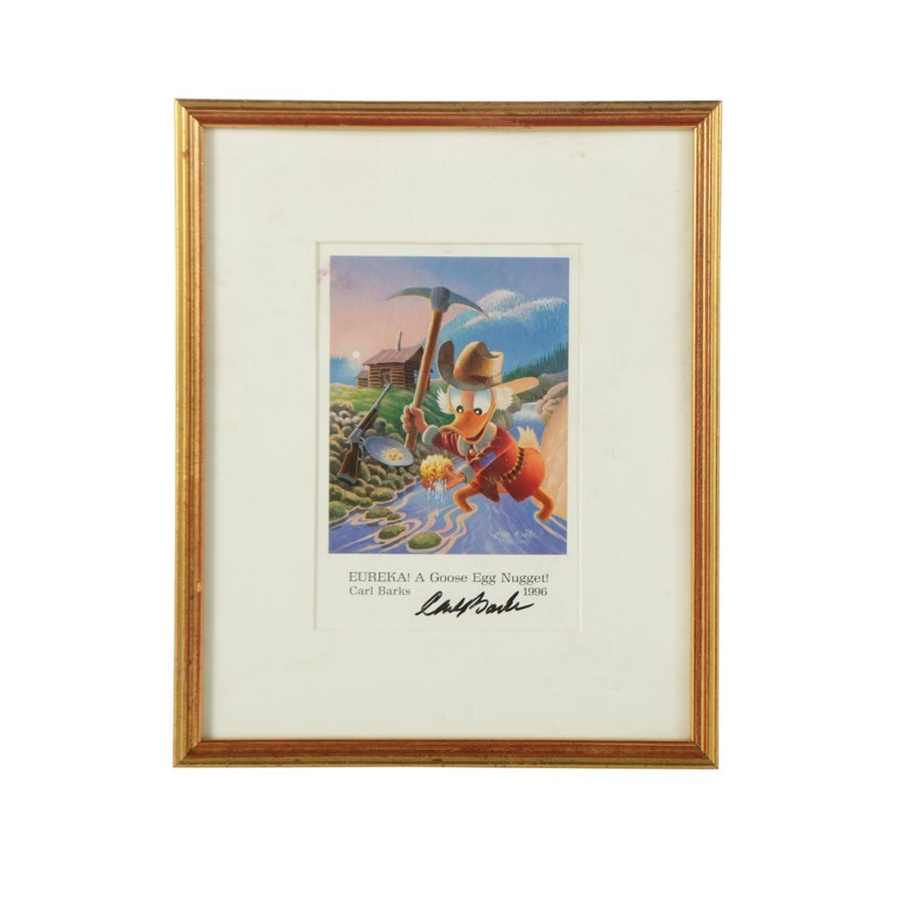"Carl Barks Autographed Offset Lithograph Print ""Eureka! A Goose Egg Nugget!"""