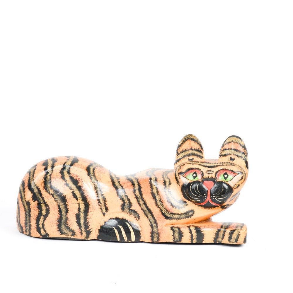 Hand-Carved and Painted Wood Alebrije Folk Art Cat