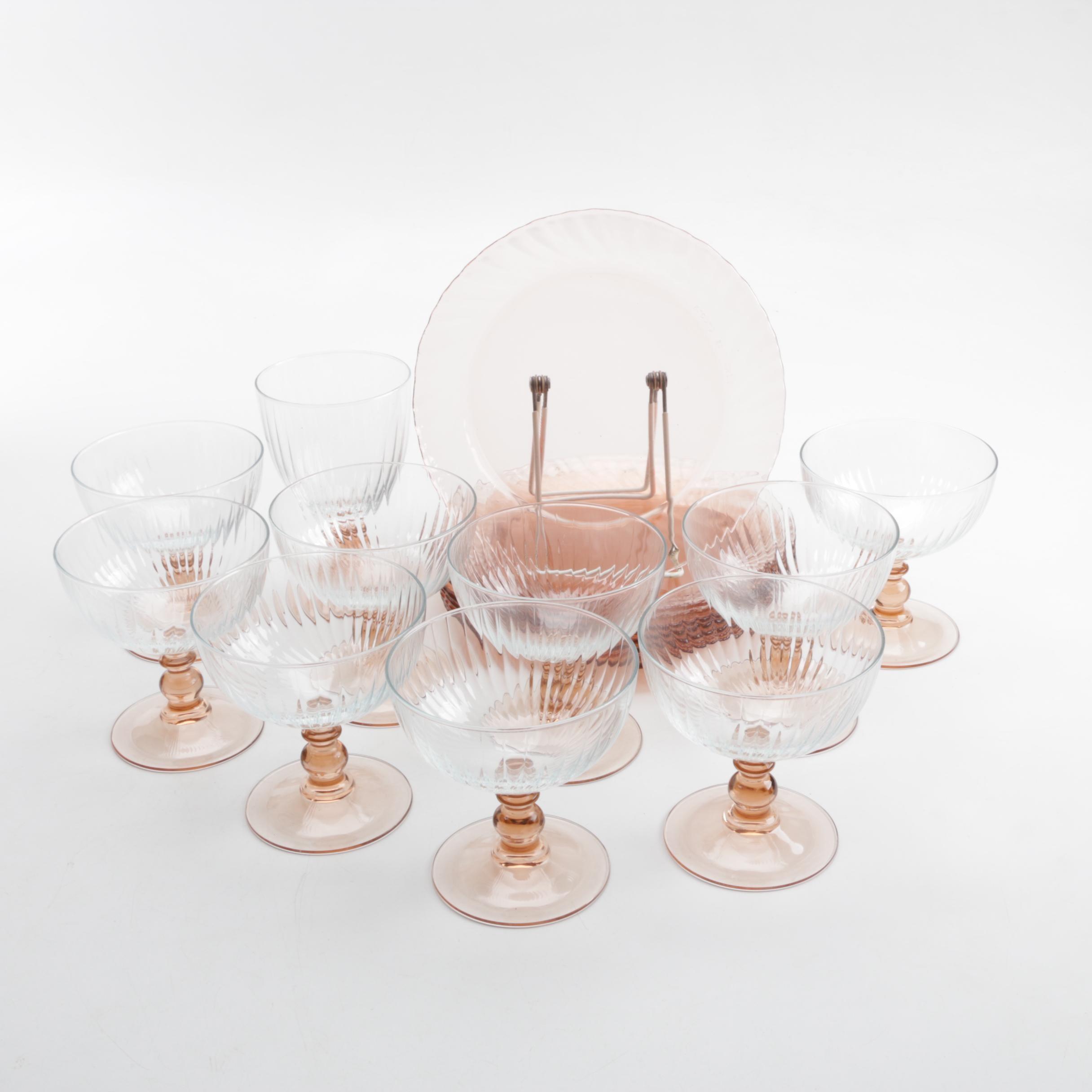 Vintage Pink Glass Tableware