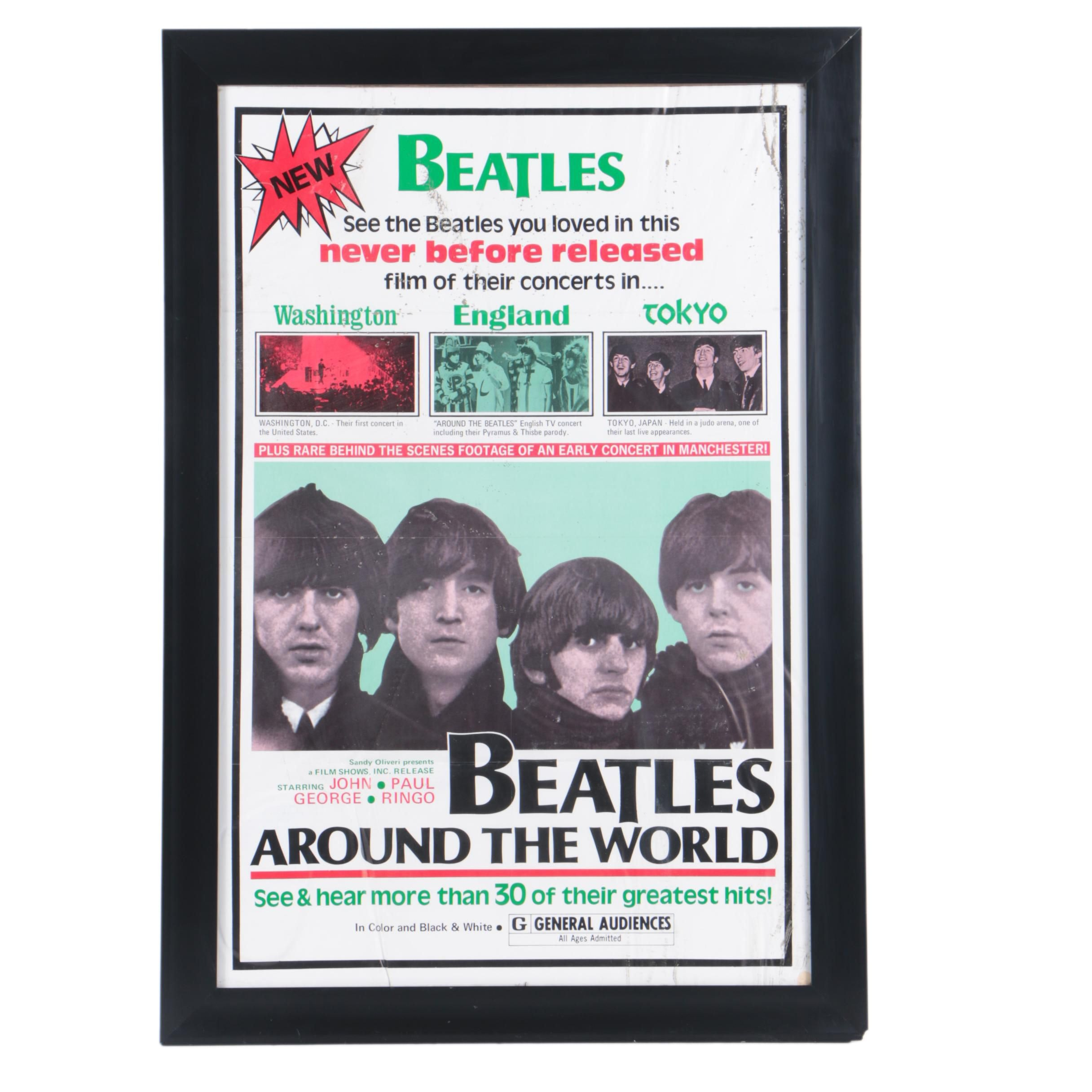 "Offset Lithograph Film Poster ""Beatles Around the World"""