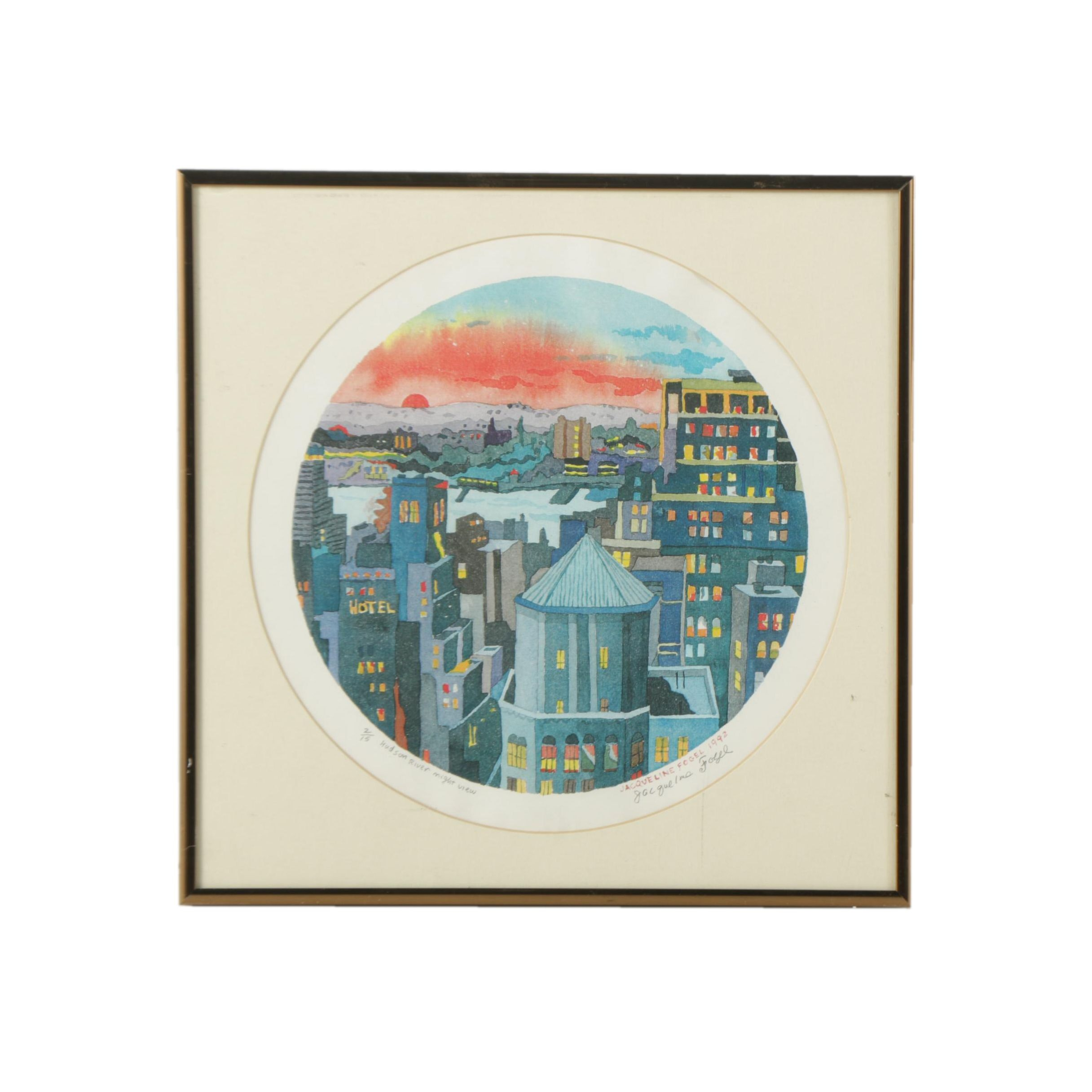 """Jacqueline Fogel Signed Giclee Print on Paper """"Hudson River Night View"""""""