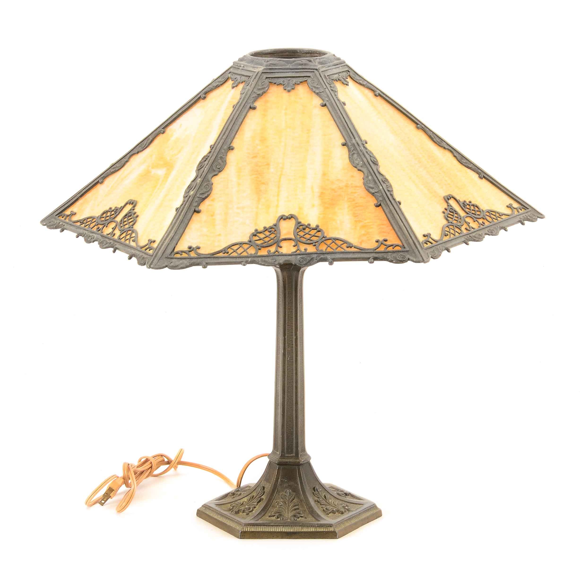 Vintage Table Lamp with Slag Glass Shade