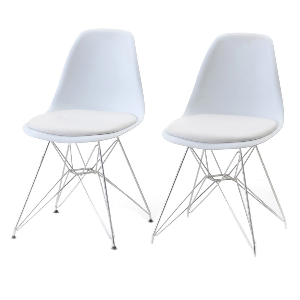 Pair of Eames Style Eiffel Base Side Chairs
