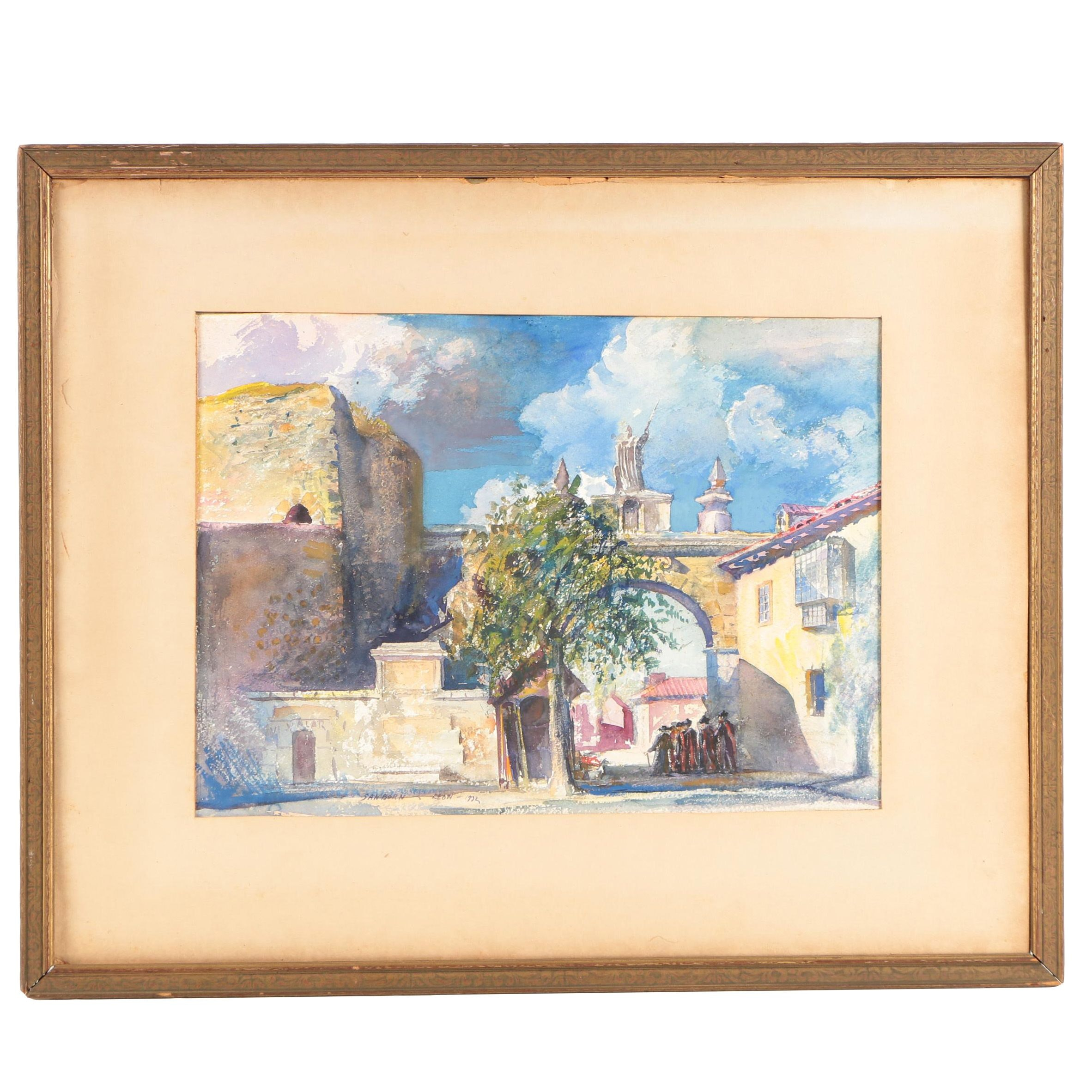 "Earl E. Sanborn Watercolor on Paper ""Gateway, León"""