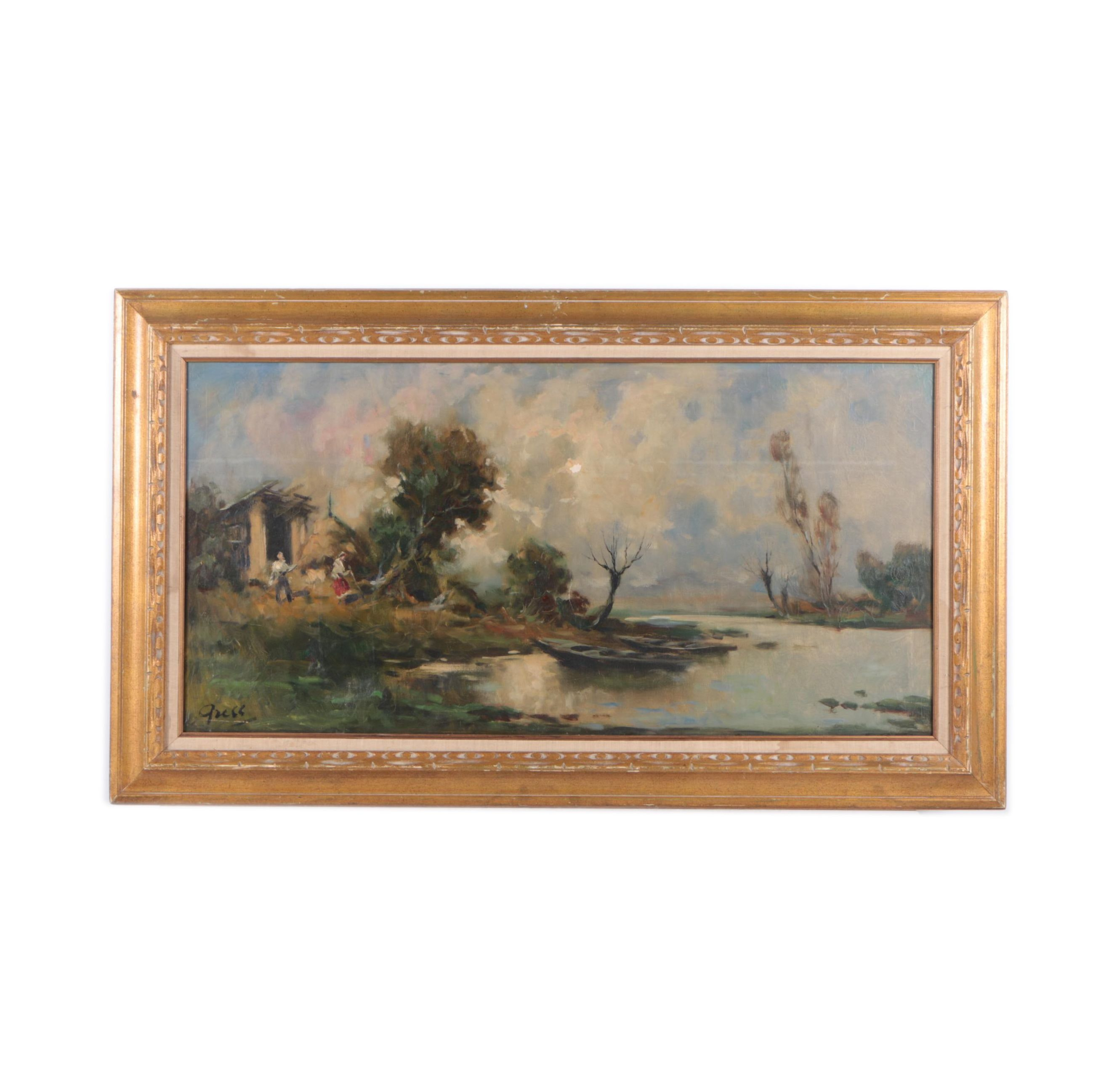 Oil Painting on Canvas of a Figurative Landscape