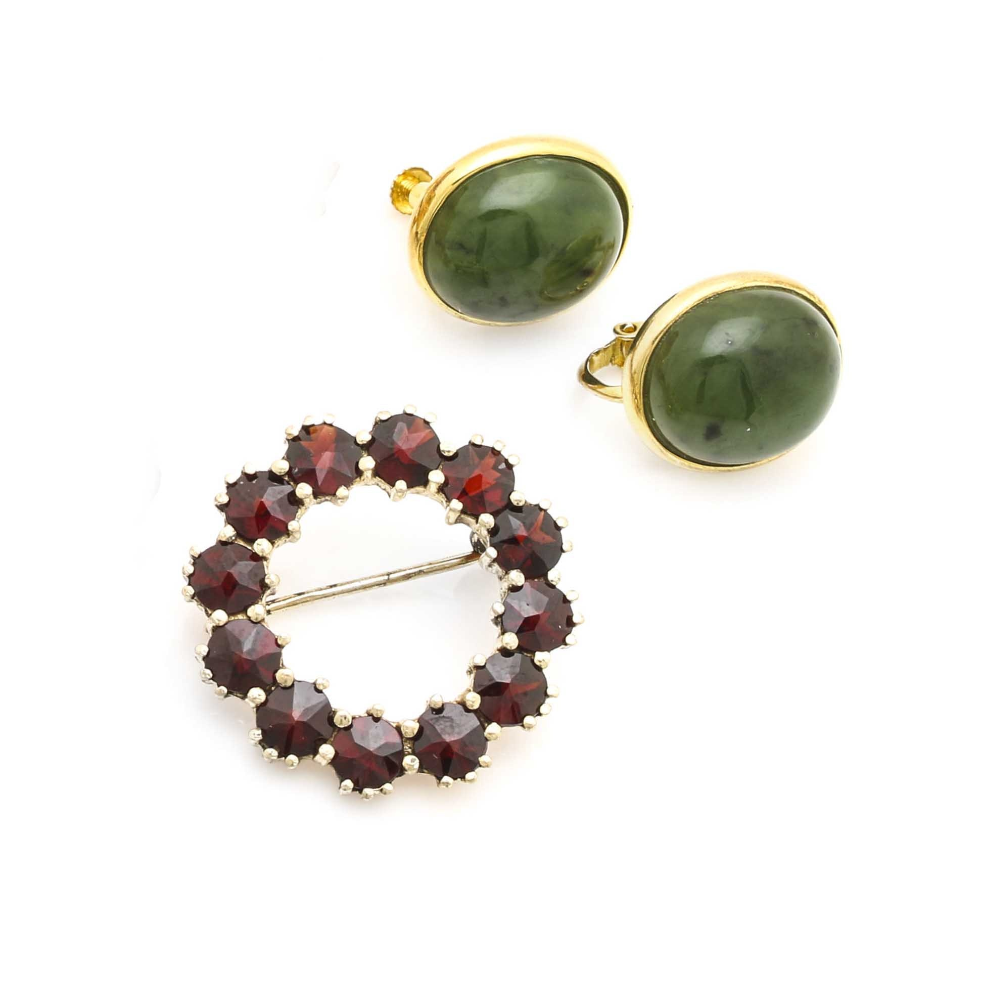 Gold Wash on Sterling Silver Serpentine Earrings and Garnet Brooch