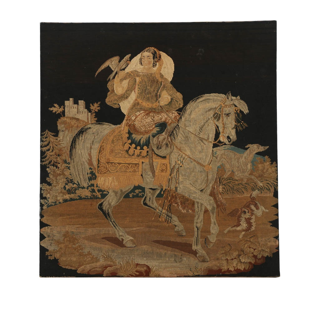 Needlepoint Embroidery of a Woman on Horseback