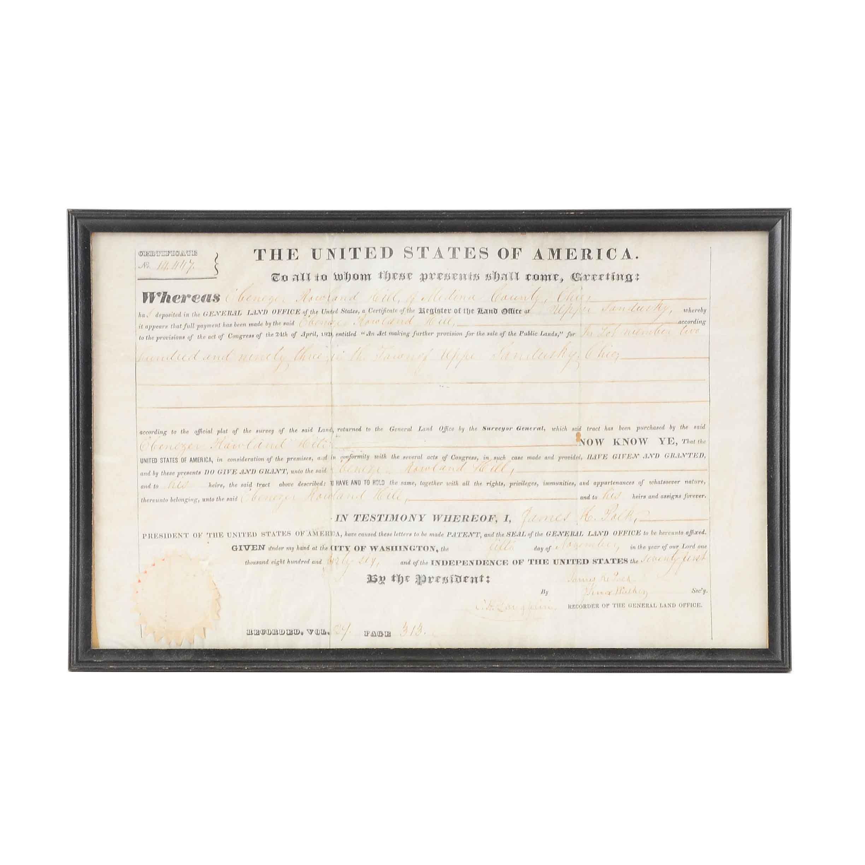 Antique Secretary Signed James Polk Land Grant