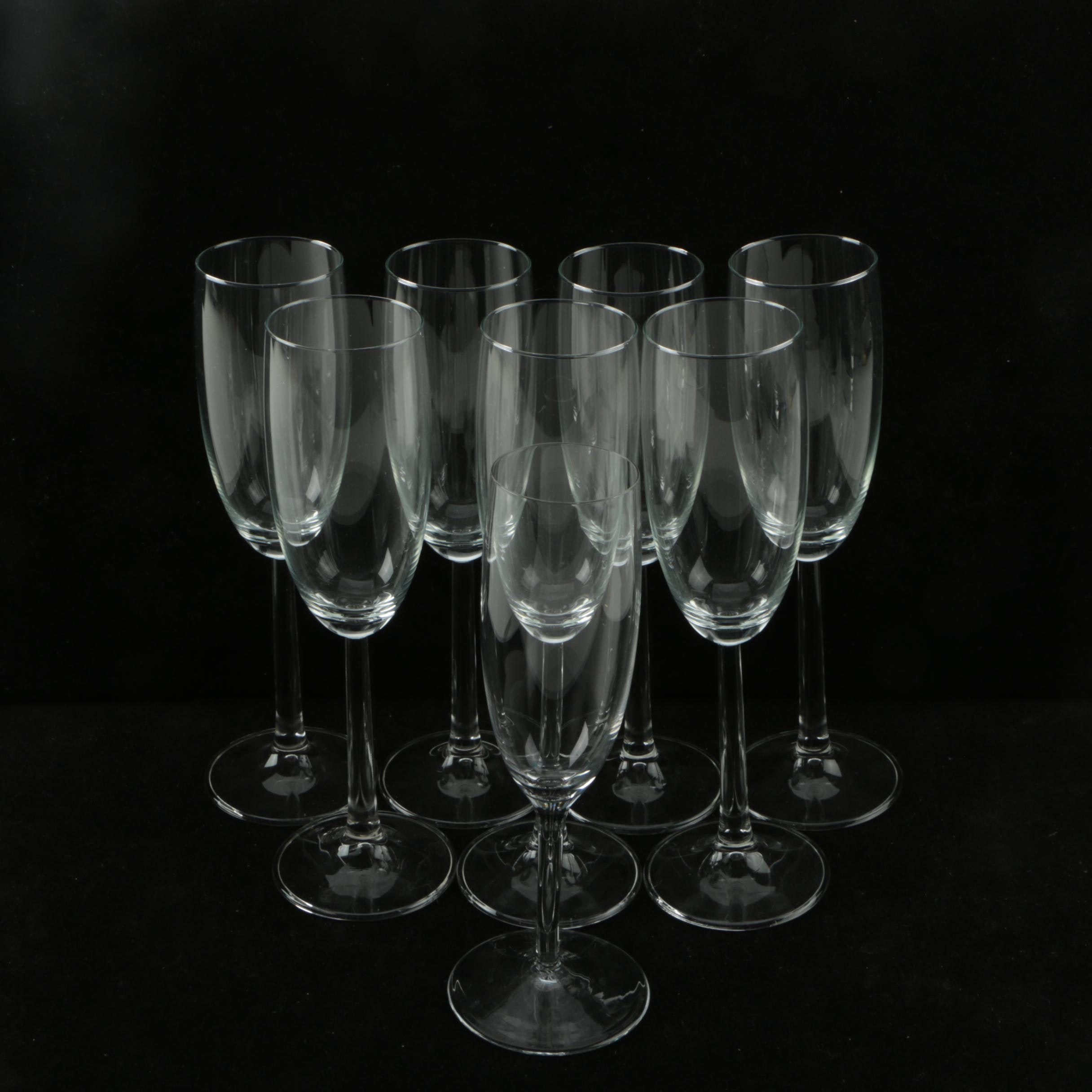 Assortment of Glass Champagne Flutes