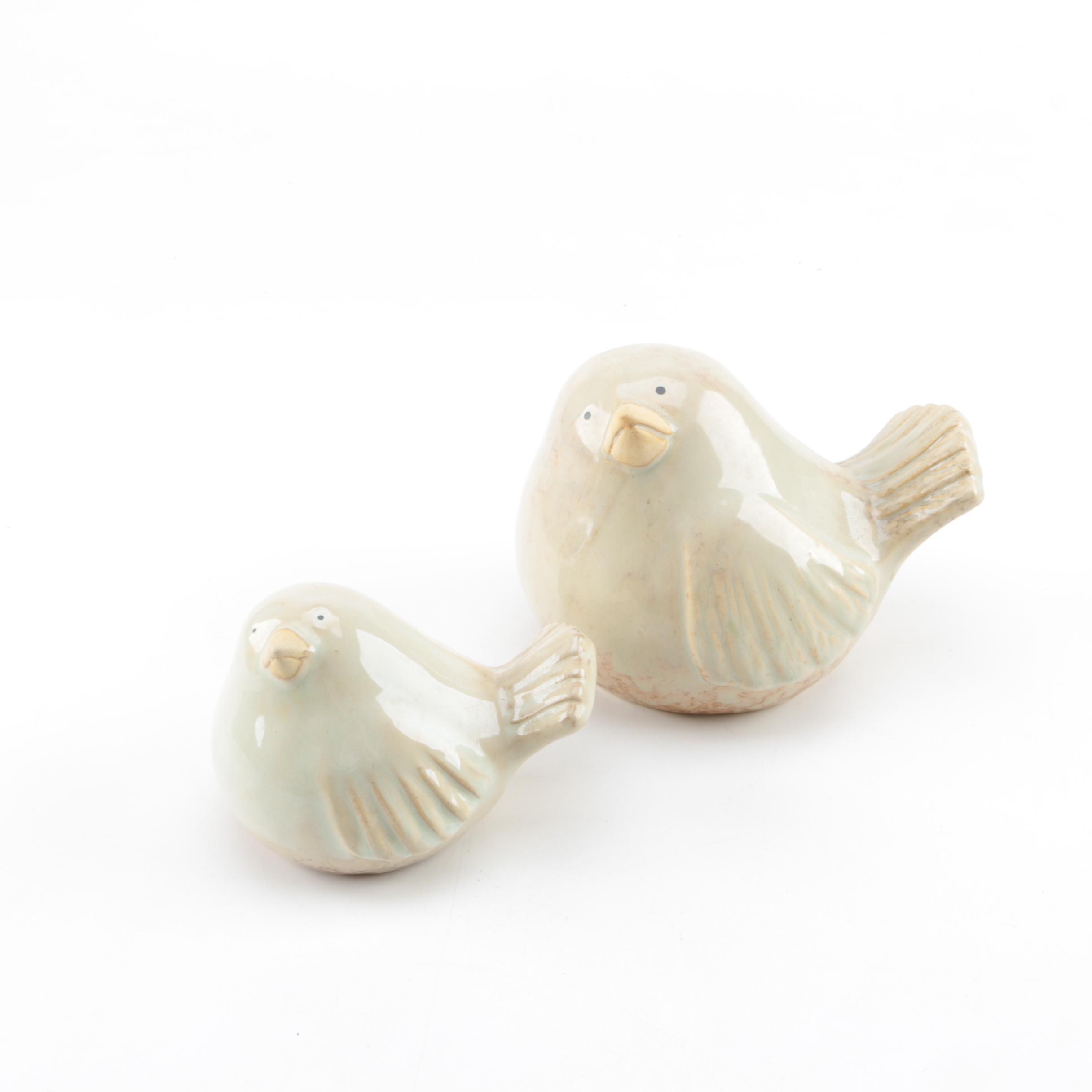 Pair of Glazed Ceramic Bird Figurines