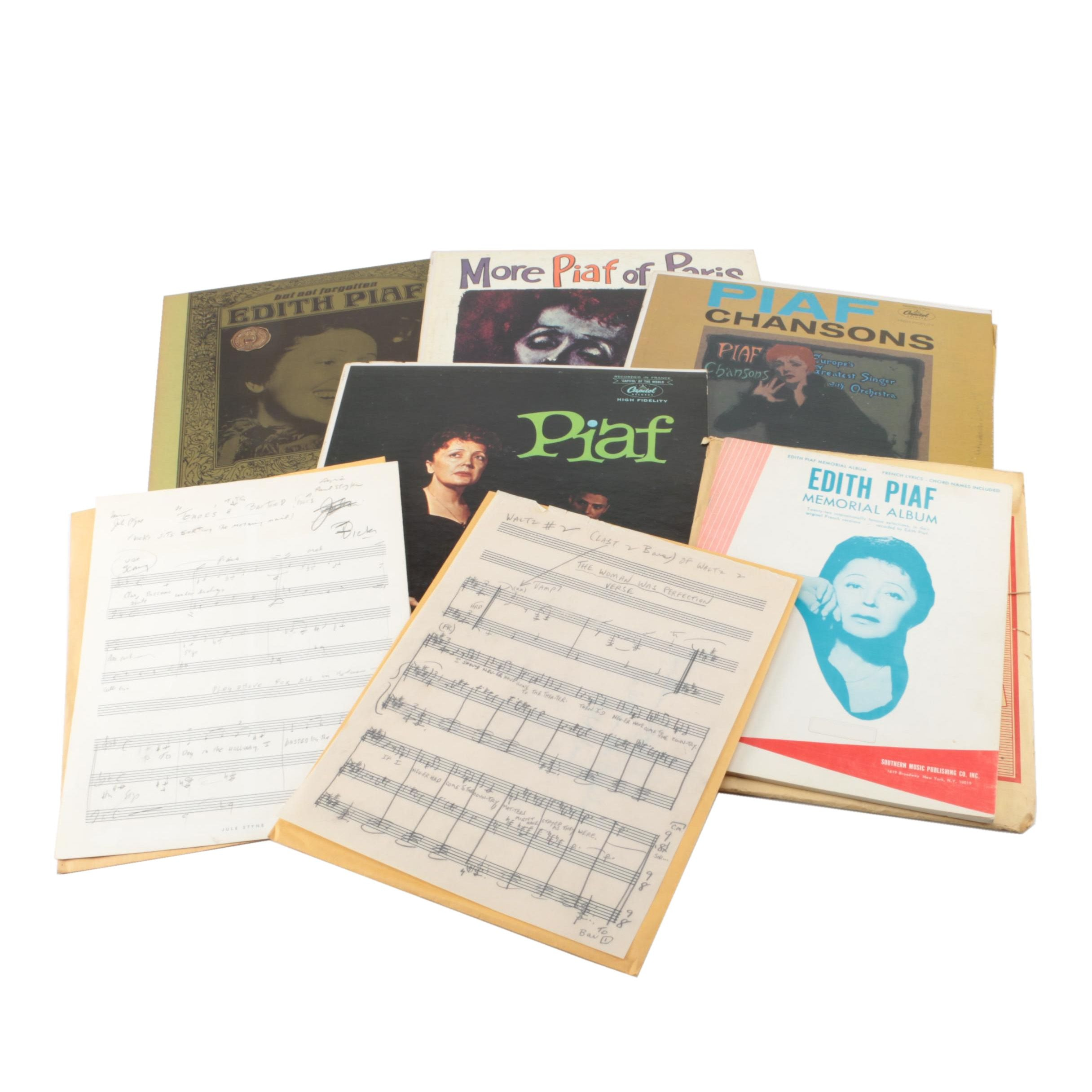 Édith Piaf LPs and Sheet Music