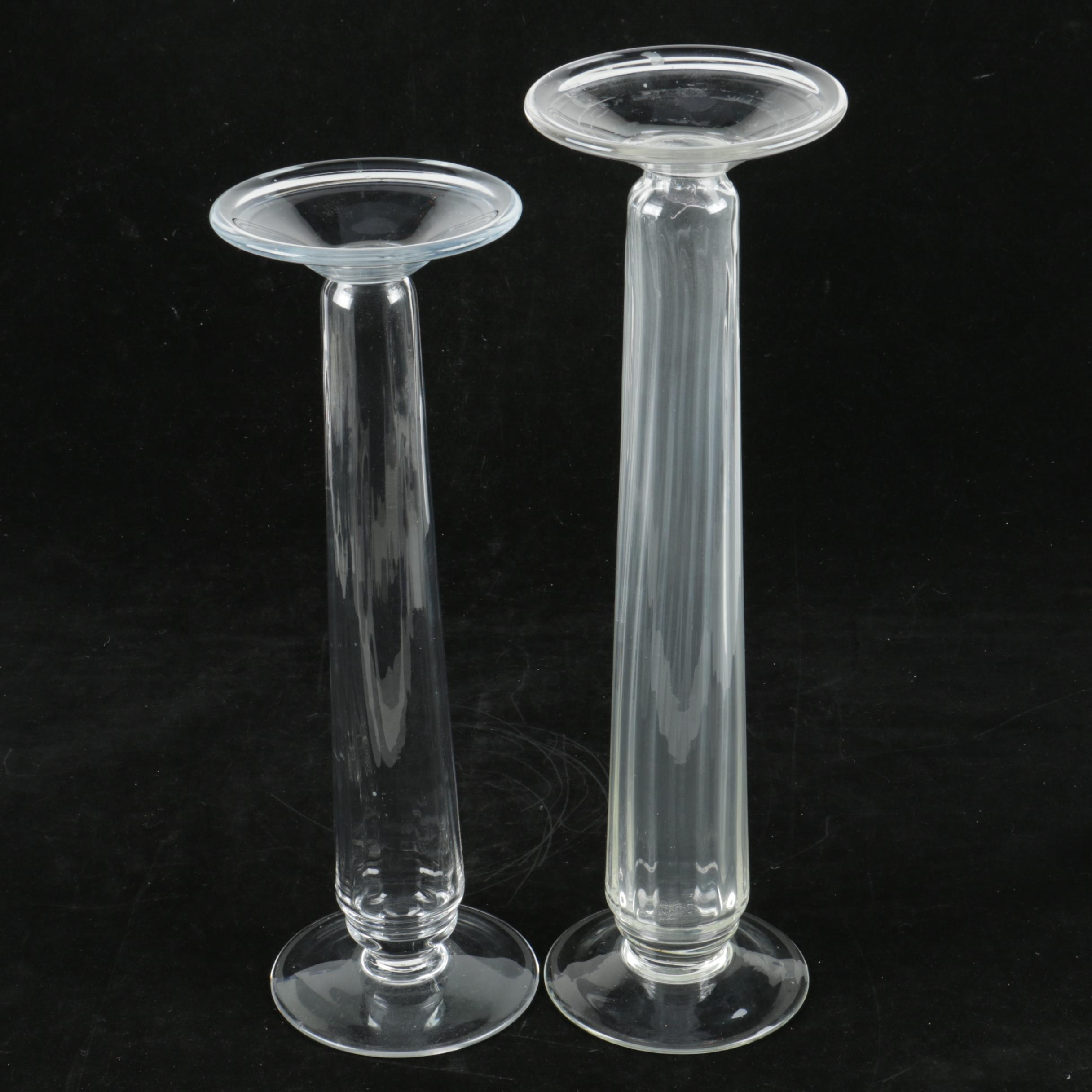 Pair of Clear Glass Pillar Candle Holders