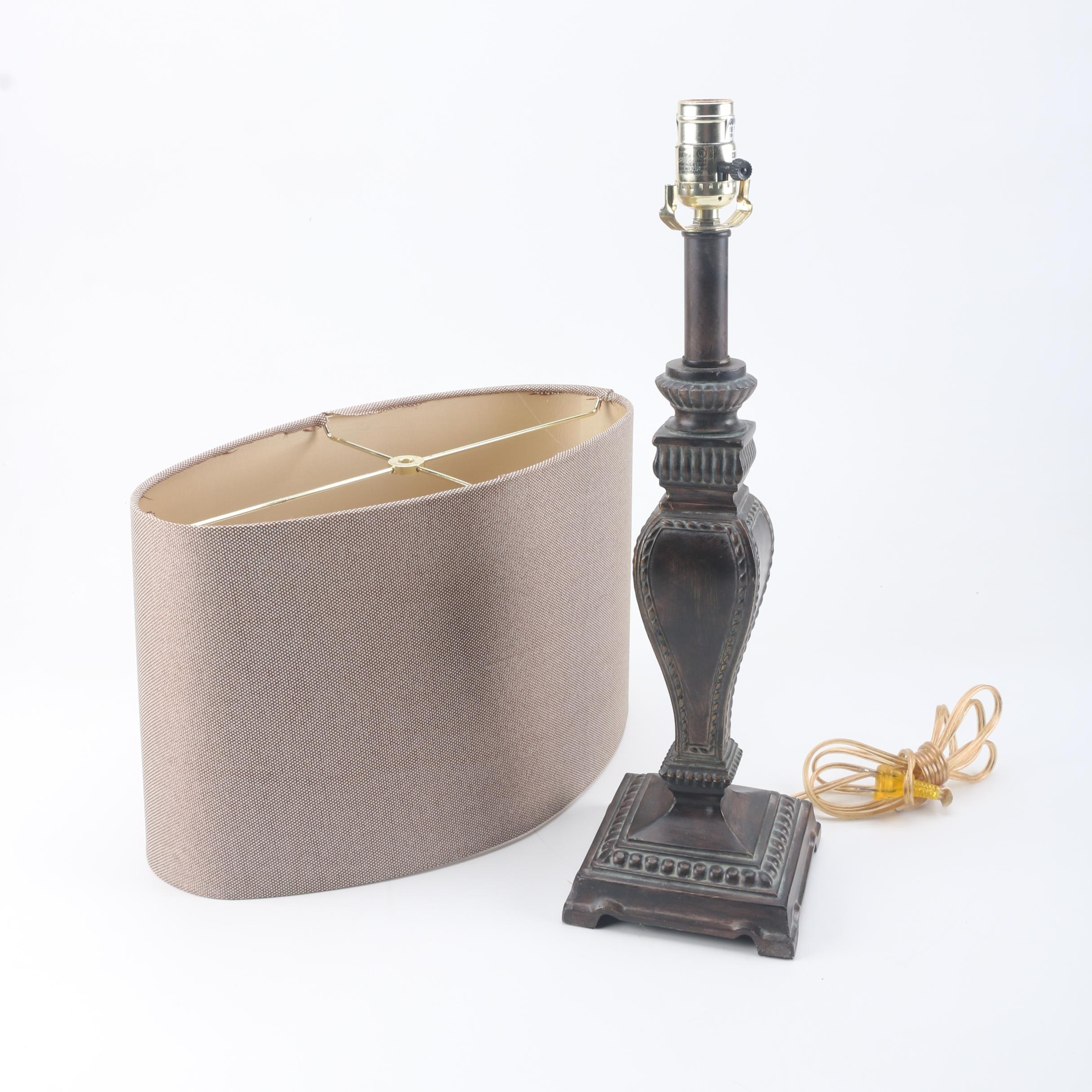 Traditional-Style Table Lamp with Oblong Shade
