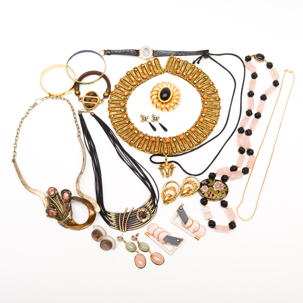 Assortment of Mixed Metal and Stone Costume Jewelry
