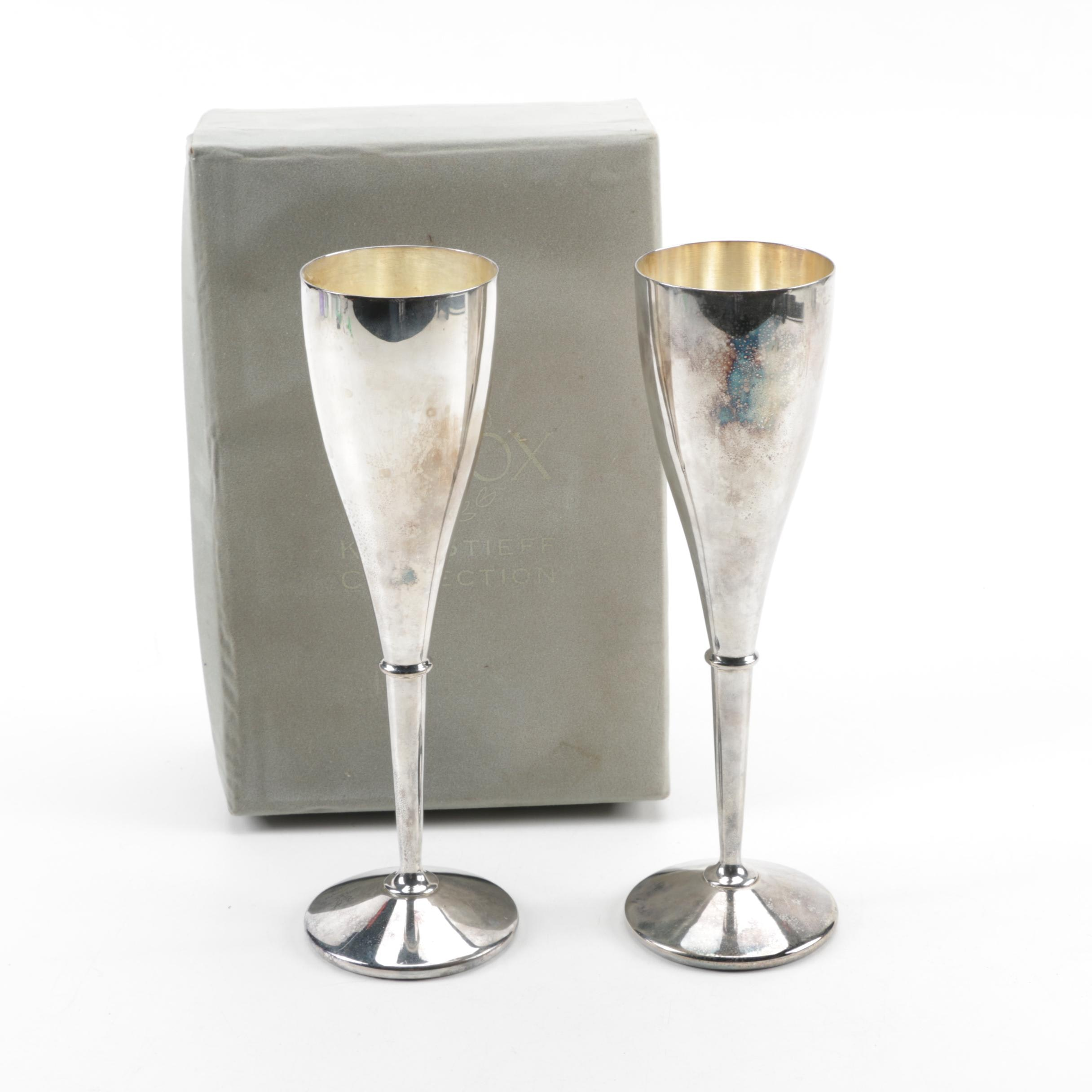 """Lenox """"Kirk-Stieff Collection"""" Silver-Plated Champagne Toasting Flutes"""