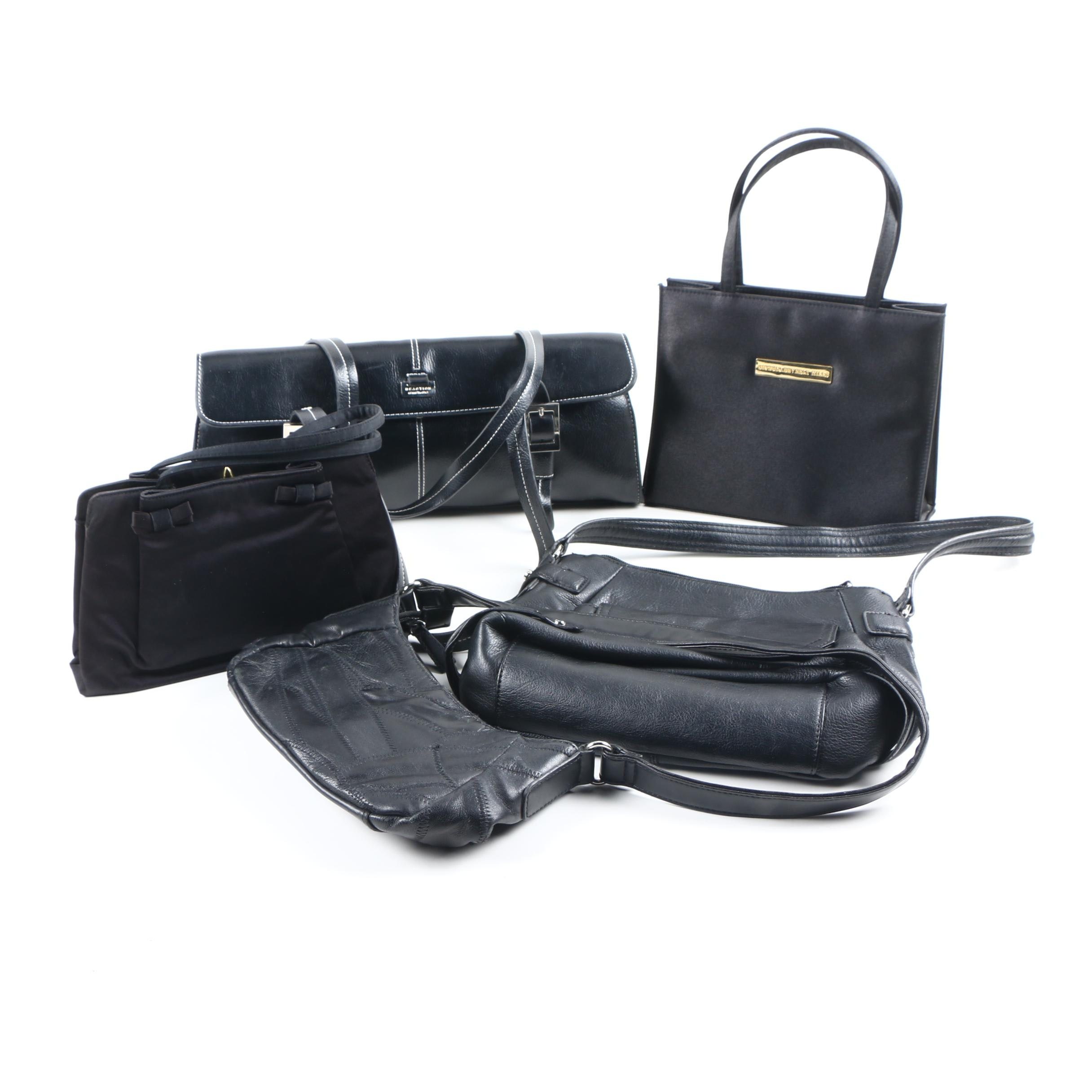 Collection of Black Leather Handbags